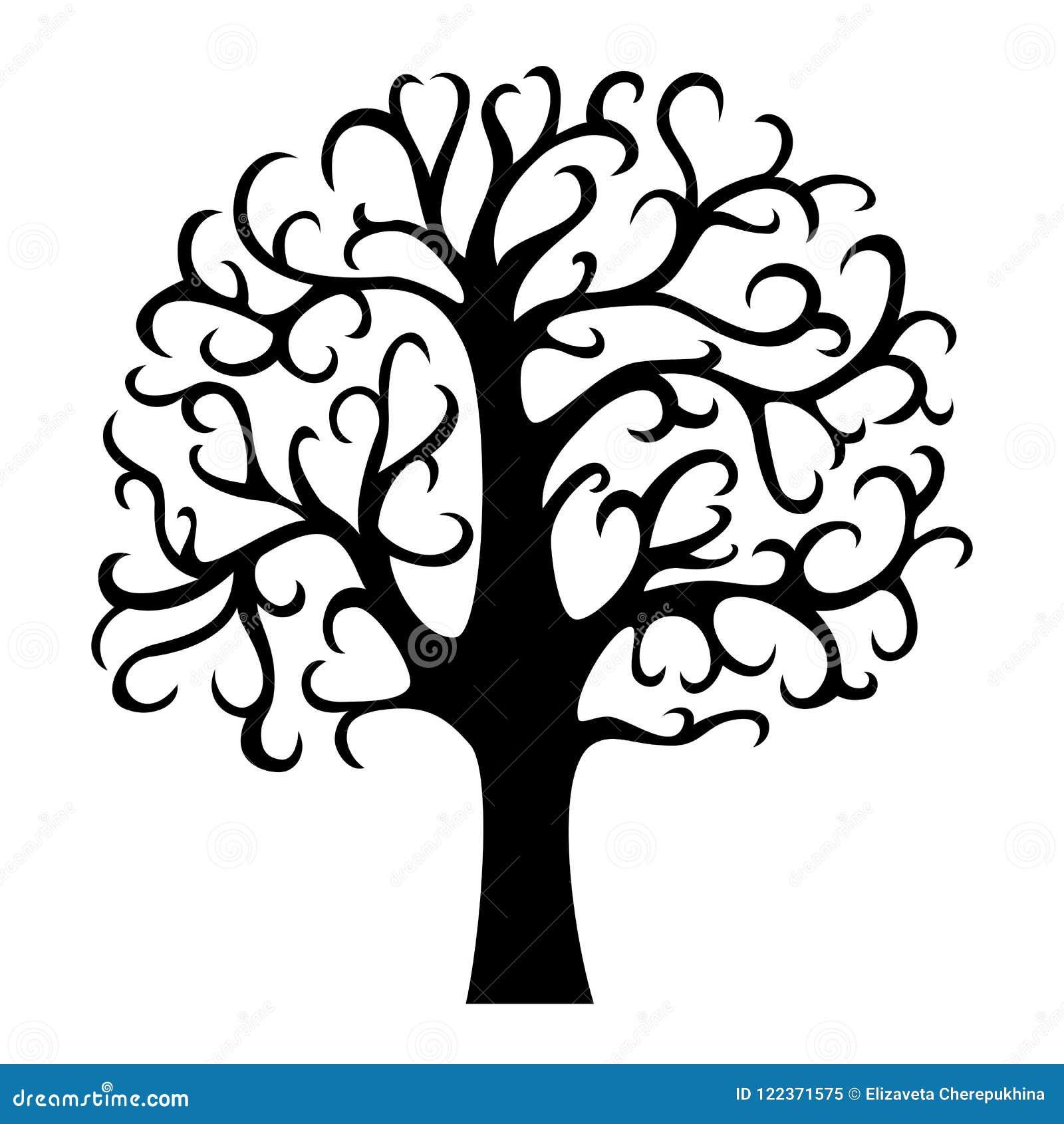 Rodzinnego drzewa sylwetka Życia drzewo Odizolowywająca wektorowa ilustracja