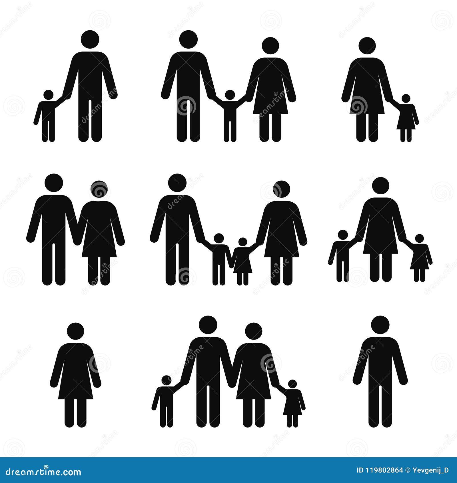 Rodzinnego pojęcia ikony Matki, ojca, syna i córki piktogramy, Ludzie kij postaci symboli/lów