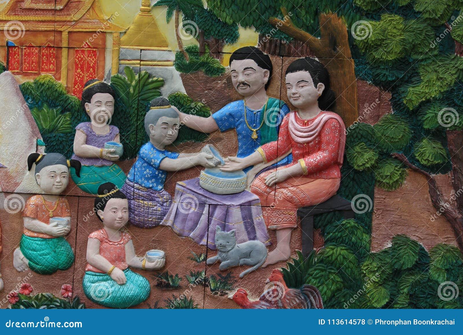 Rodzinnej fotografii Songkran festiwal Na ścianie świątynny miasto Bangkok, Tajlandia