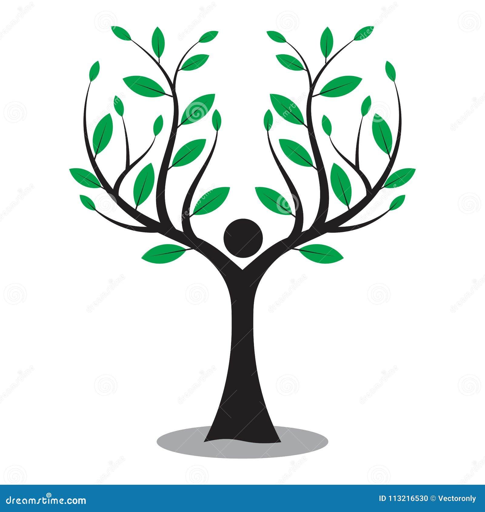 Rodzinny drzewo, drzewny mężczyzna, miłości natury logo