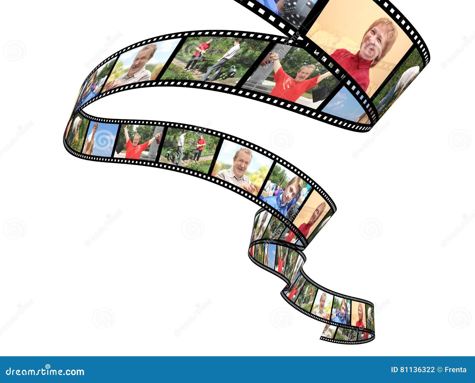 Rodzinny filmstrip odizolowywający przedmiot nad fotografiami biały