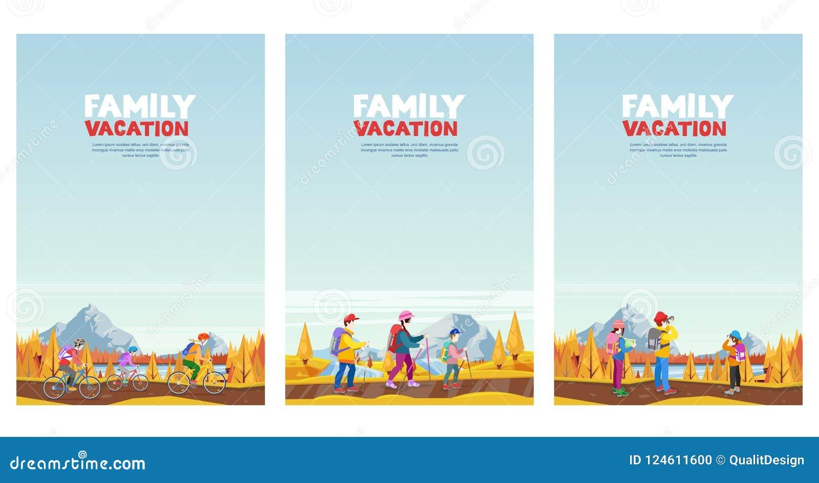 Rodzinny jesień wakacje Jeździć na rowerze, wycieczkujący i outdoors bawi się aktywność Wektorowe kreskówka stylu ilustracje usta