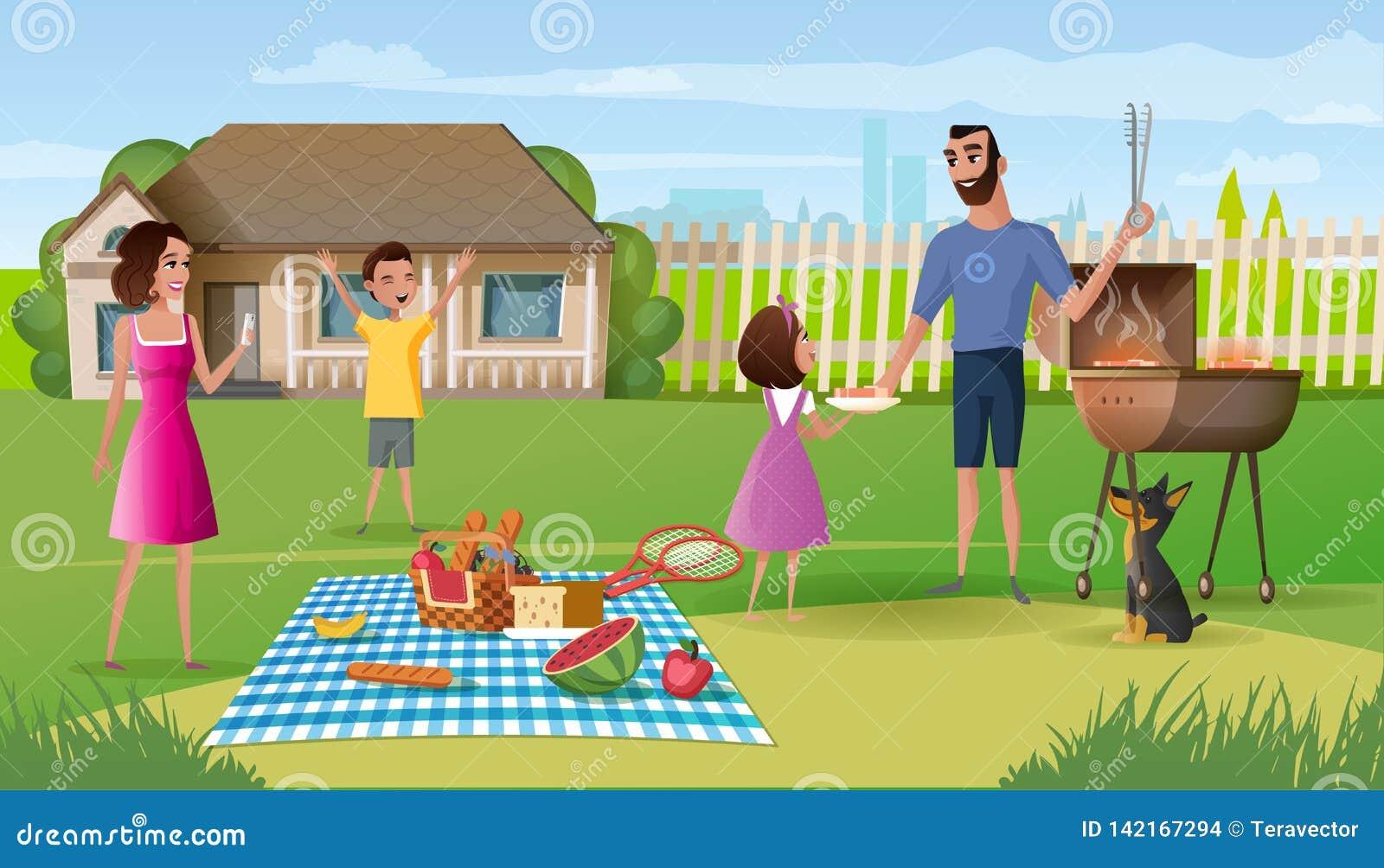 Rodzinny pinkin na domu na wsi jarda kreskówki wektorze