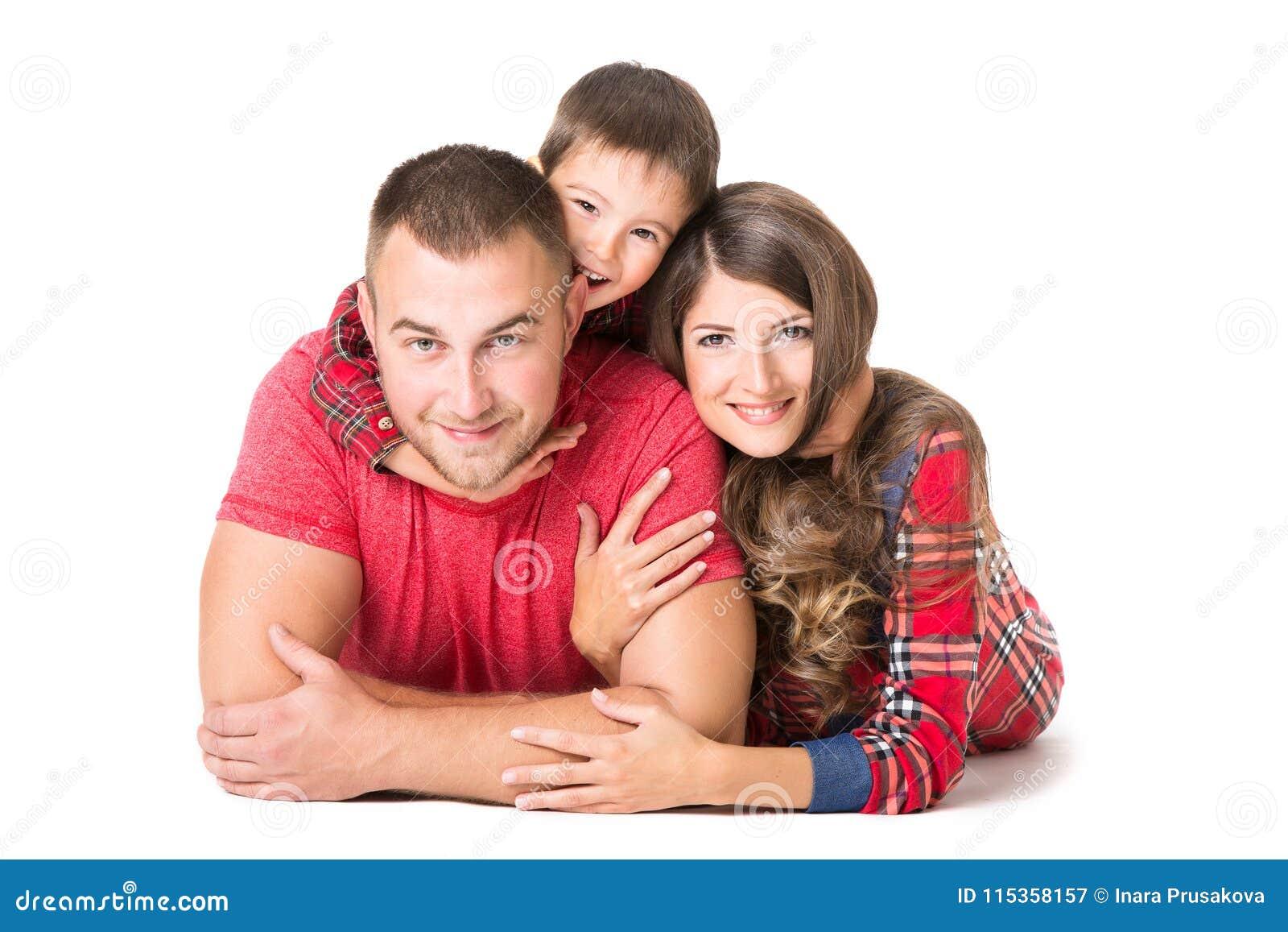 Rodzinny portret, Macierzysta ojca dziecka chłopiec, Szczęśliwi rodzice i dzieciak,