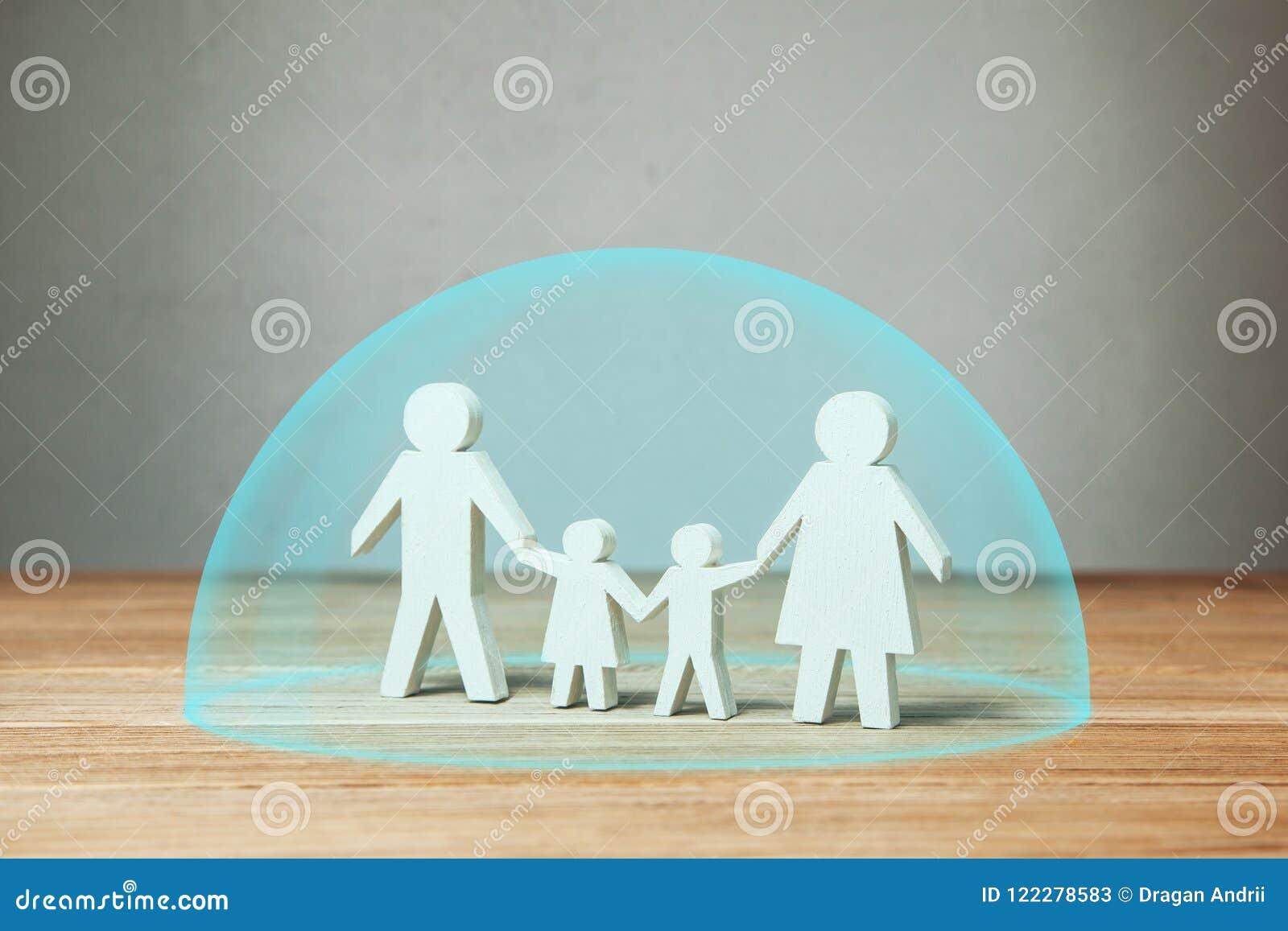Rodzinny ubezpieczenie medyczne lub ochrona Rodzinne chwyt ręki pod ochronny pęcherzowym