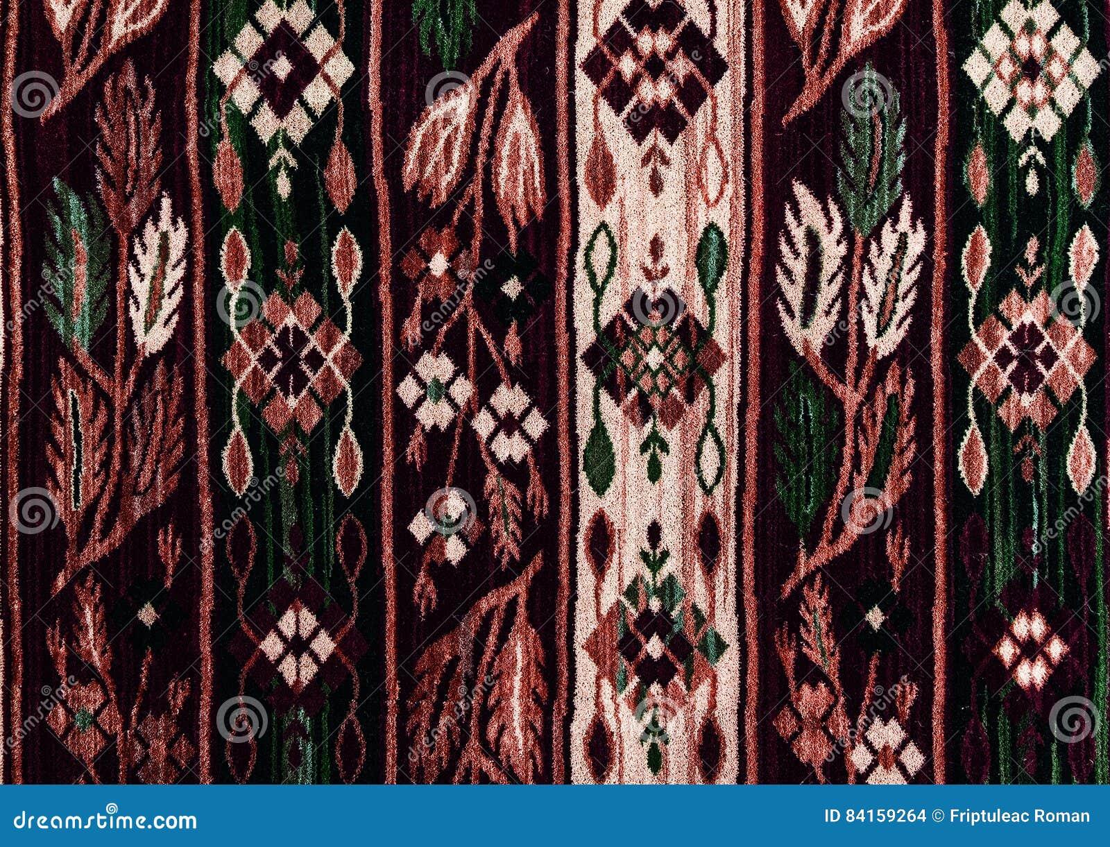 Roemeense volks naadloze patroonornamenten Roemeens traditioneel borduurwerk Etnisch textuurontwerp Traditioneel tapijtontwerp Ca