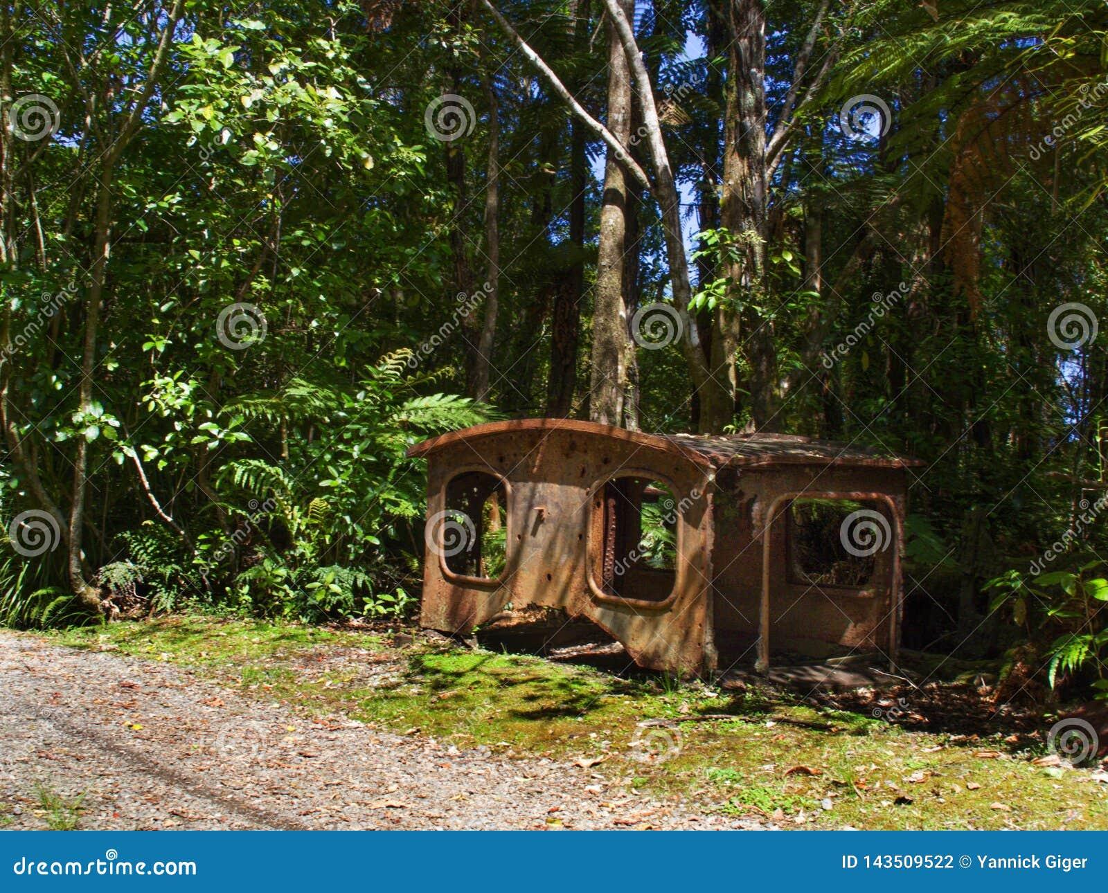 Roestige mijnbouwresten op Charmante Kreekgang, Nieuw Zeeland