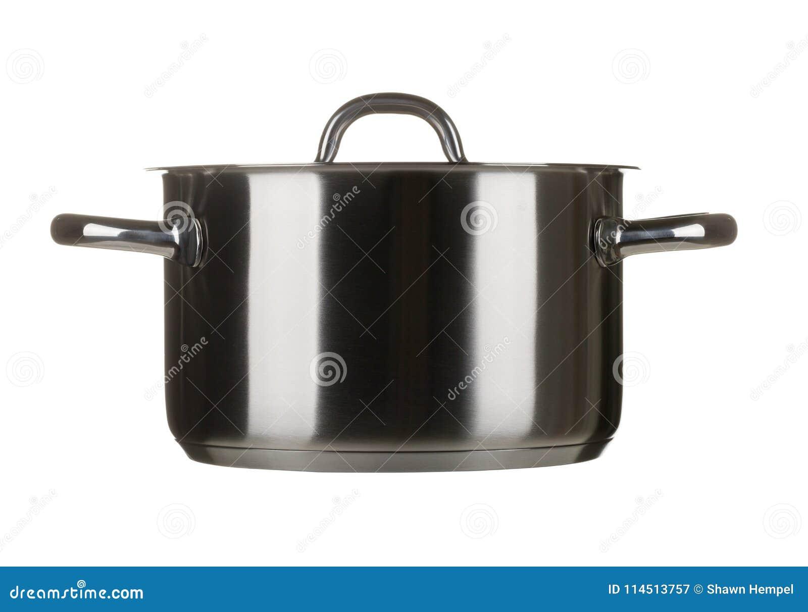 Roestvrij staal kokende die pot met deksel op wit wordt geïsoleerd