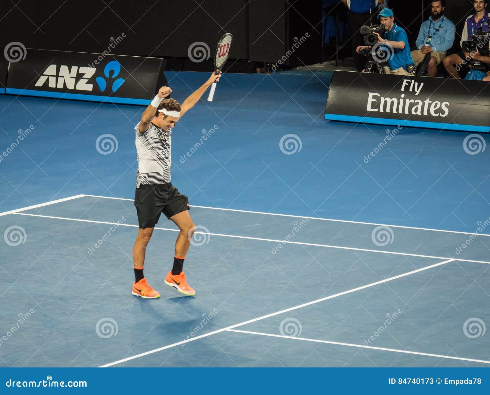 Roger Federer bij het Australian Open 2017 Tennistoernooien