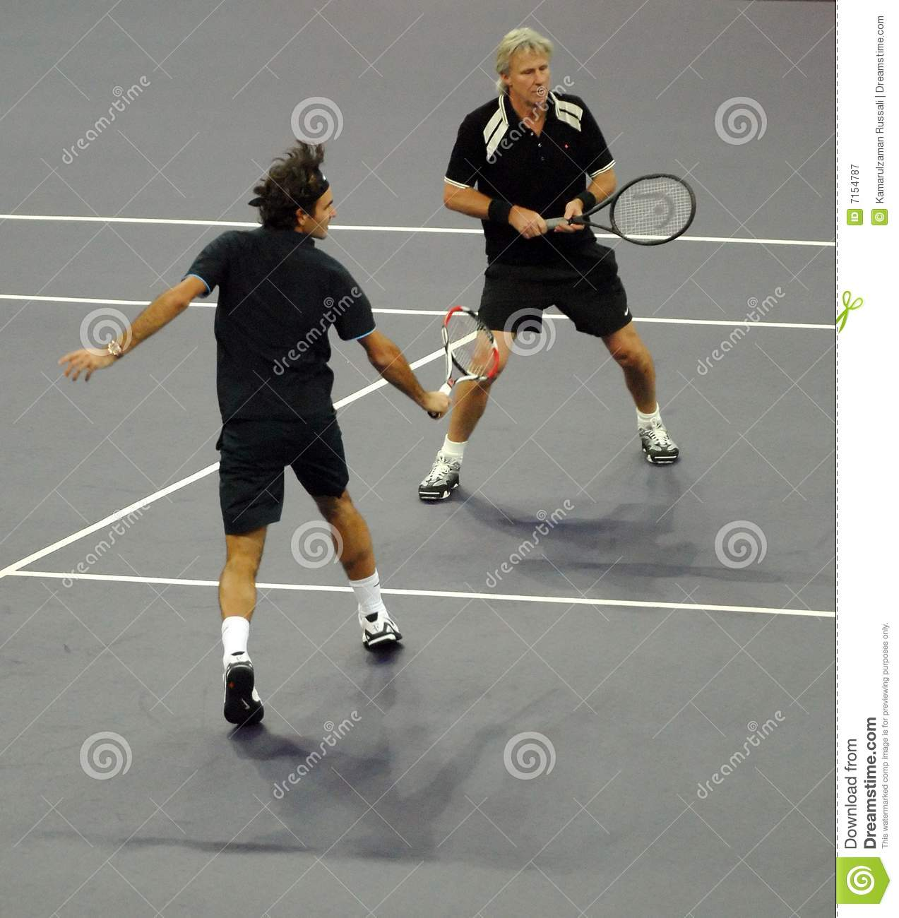 Roger Federer and Bjorn Borg in actions