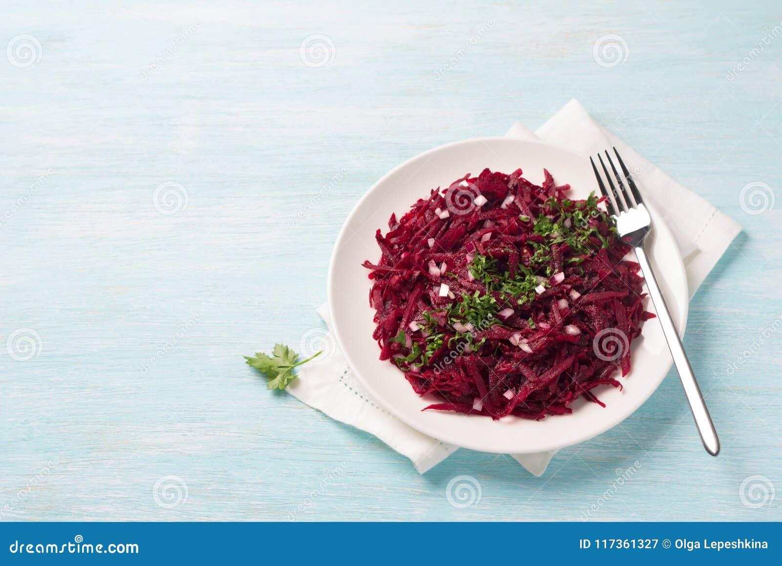 Roher Salat Rote Bete Wurzeln Des Gesunden Detox Mit Roter Zwiebel