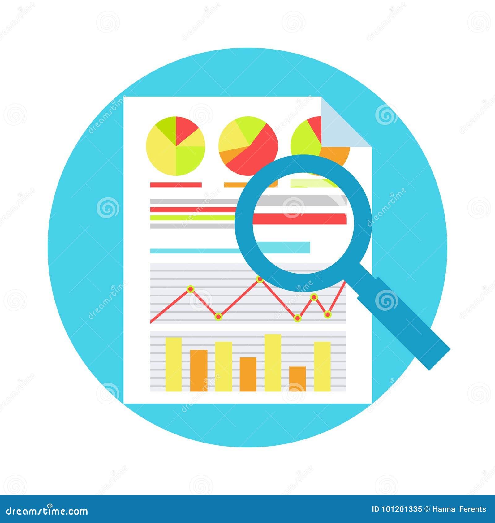 ROI Measurment Gehen Sie an von der Investition zurück Dokumente mit Diagrammen und Berechnungen und Lupe