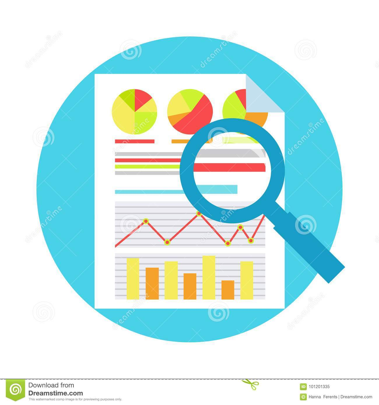 ROI Measurment. Return on of investment. Documents with graphs and calculations, and magnifying glass