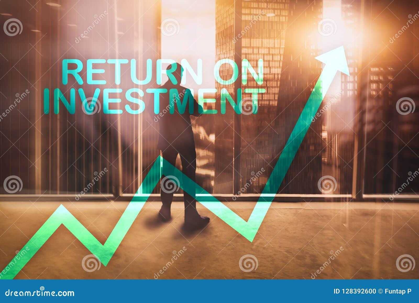 ROI - rentabilidade do investimento Compra e venda de ações e conceito financeiro do crescimento no fundo borrado do centro de ne