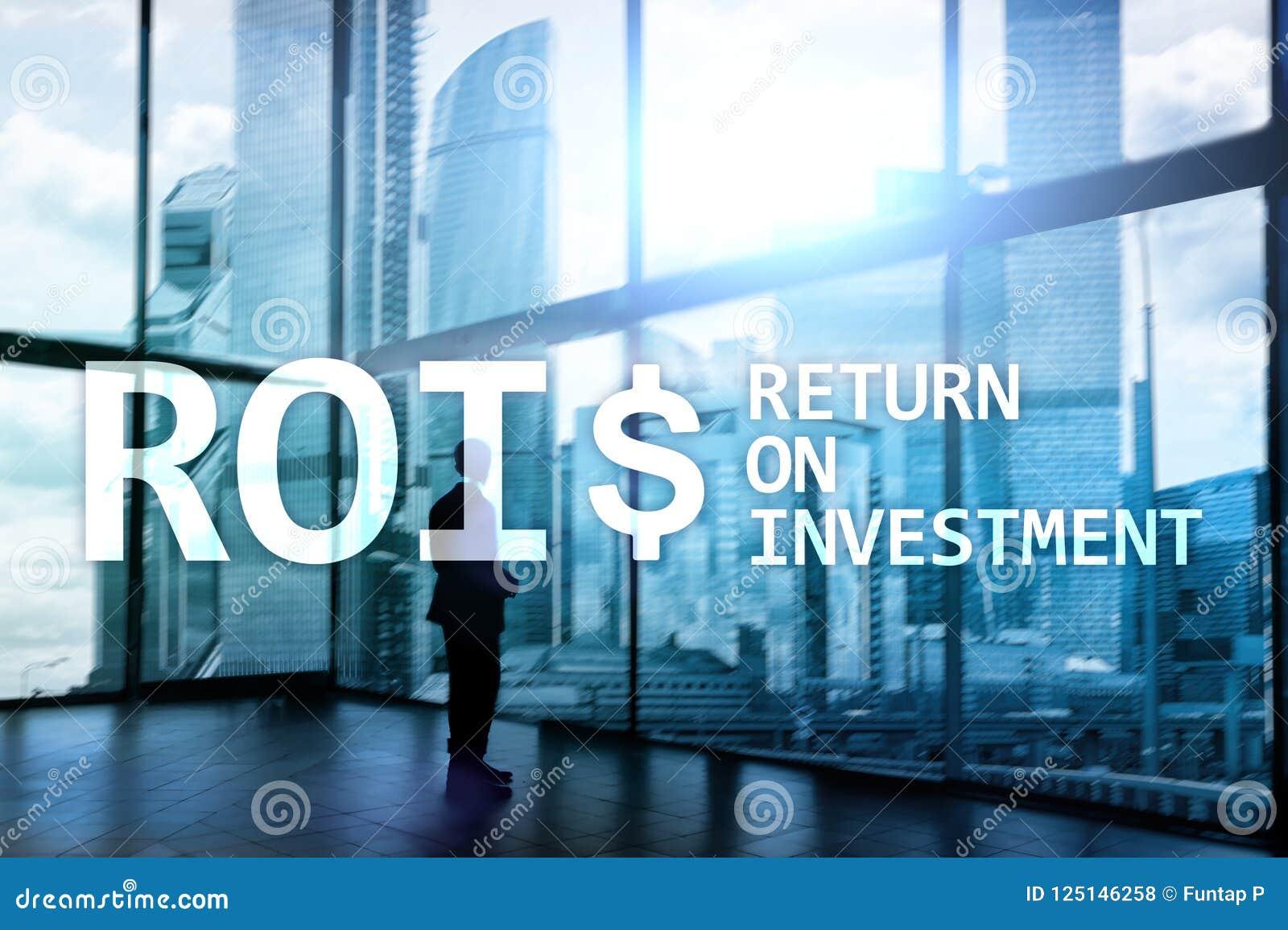 ROI - Retur på investering-, finansmarknad- och materielhandelbegrepp