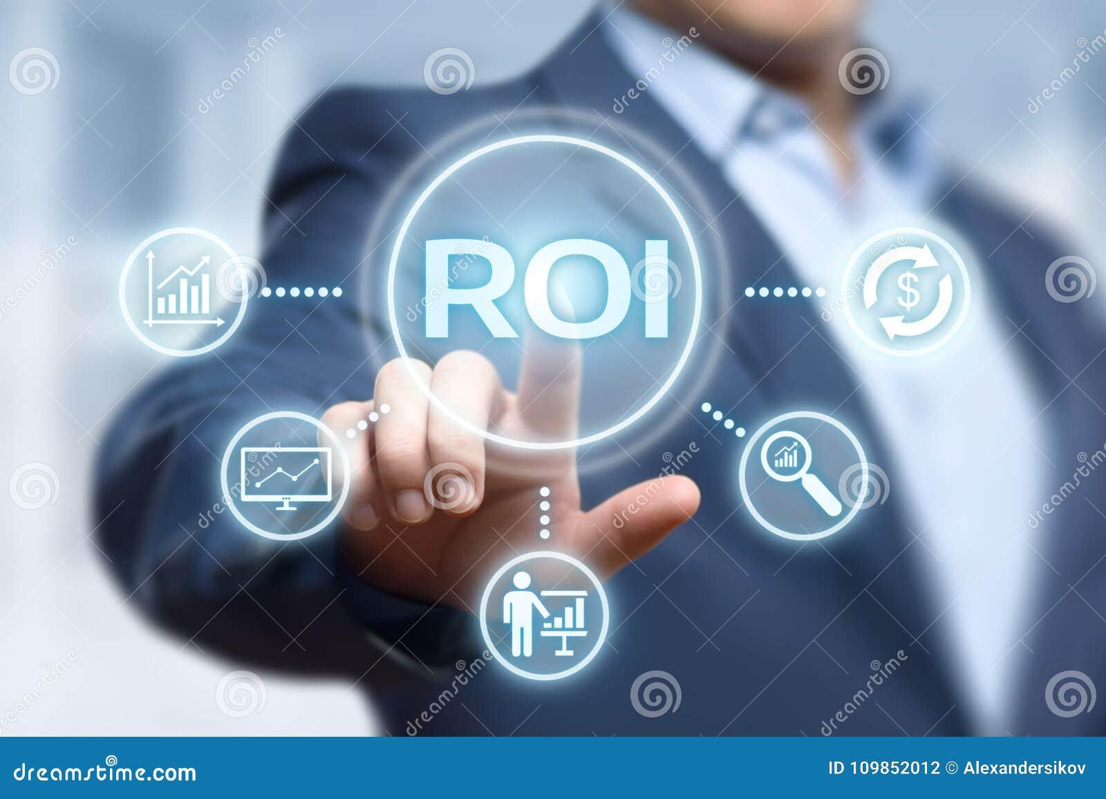 ROI Return en concepto de la tecnología del negocio de Internet del éxito del beneficio de las finanzas de la inversión