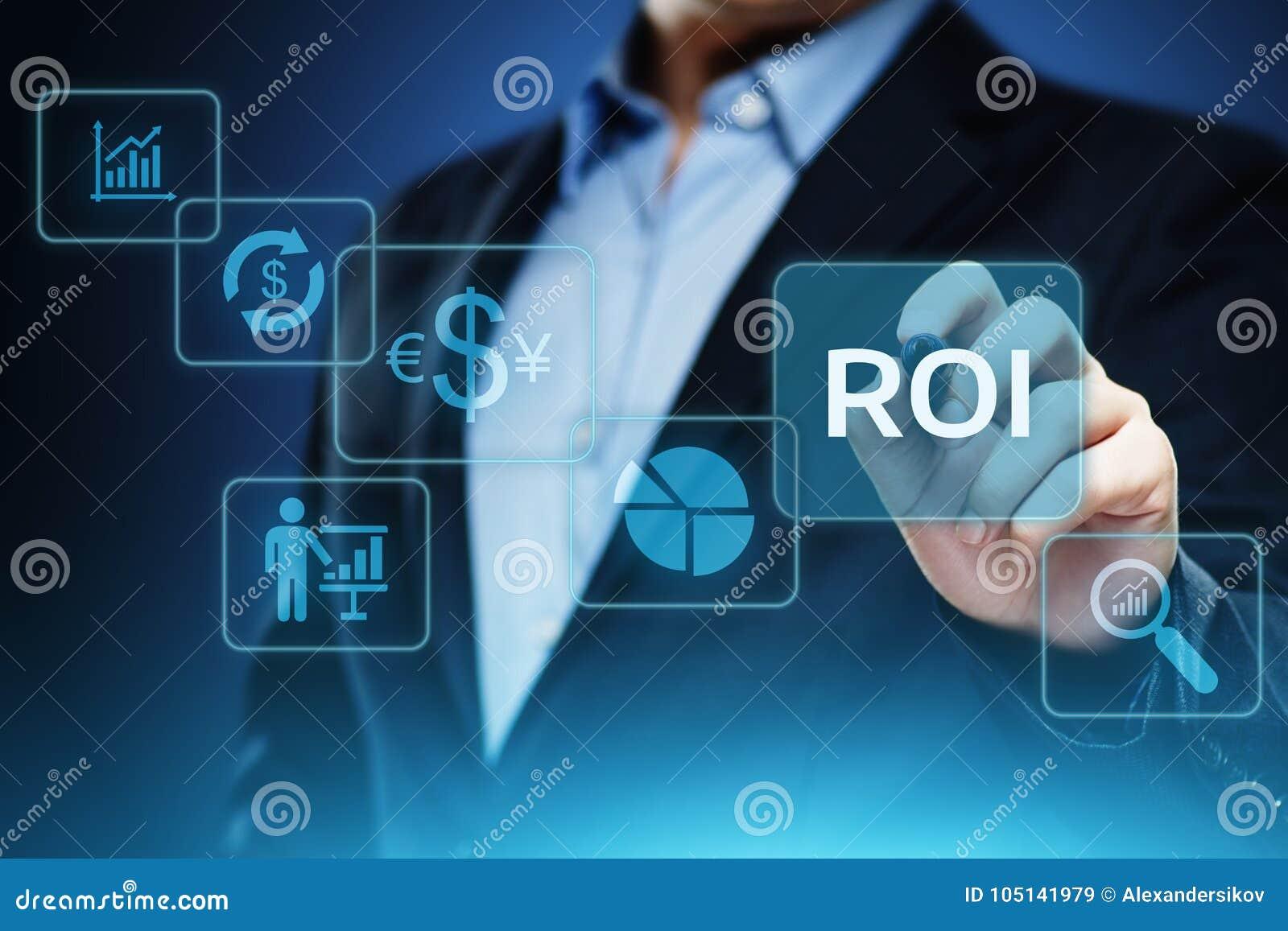 ROI Return sur le concept de technologie d affaires d Internet de succès de bénéfice de finances d investissement