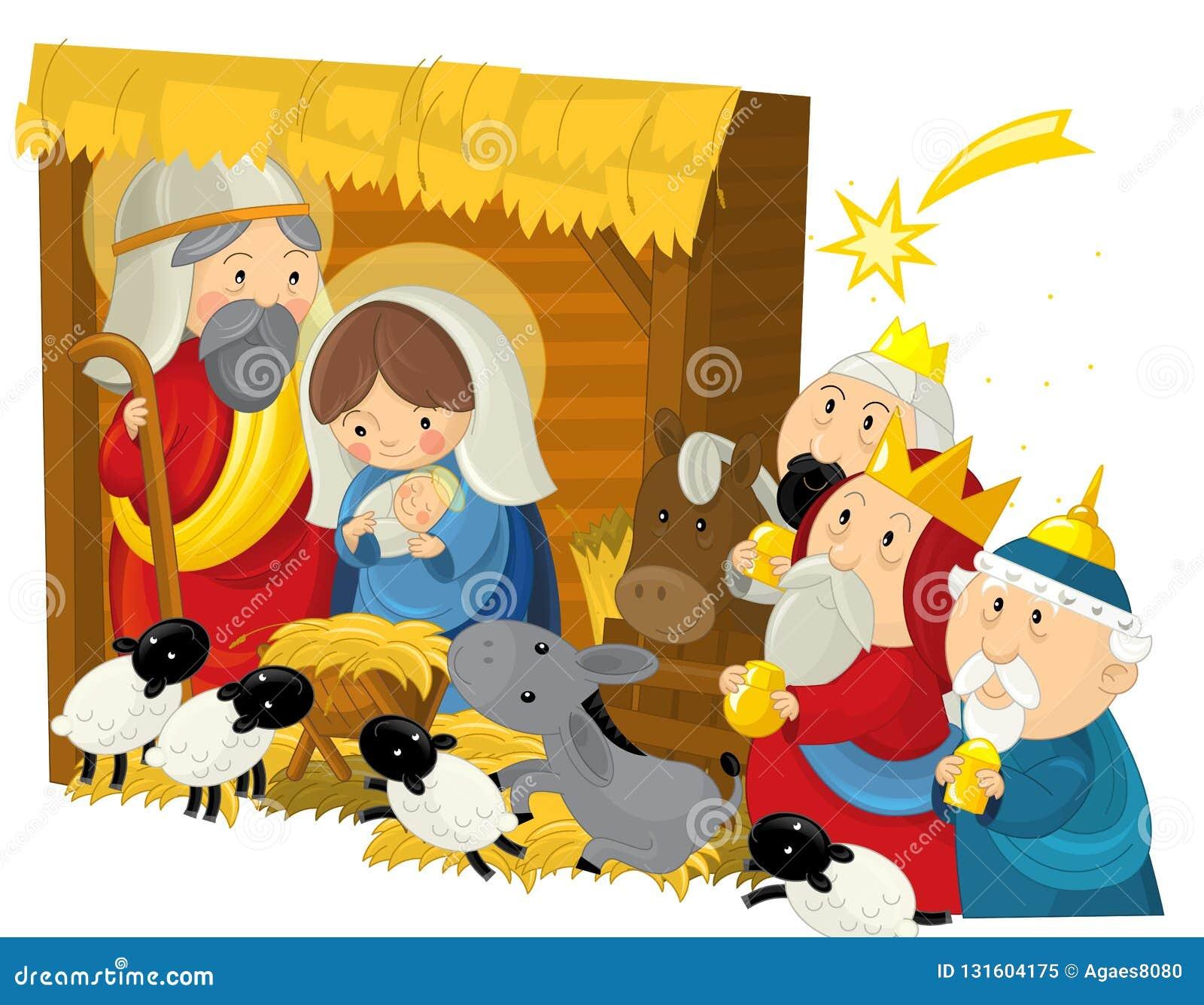 Rois de la famille trois d illustration religieuse et étoile filante saints - scène traditionnelle