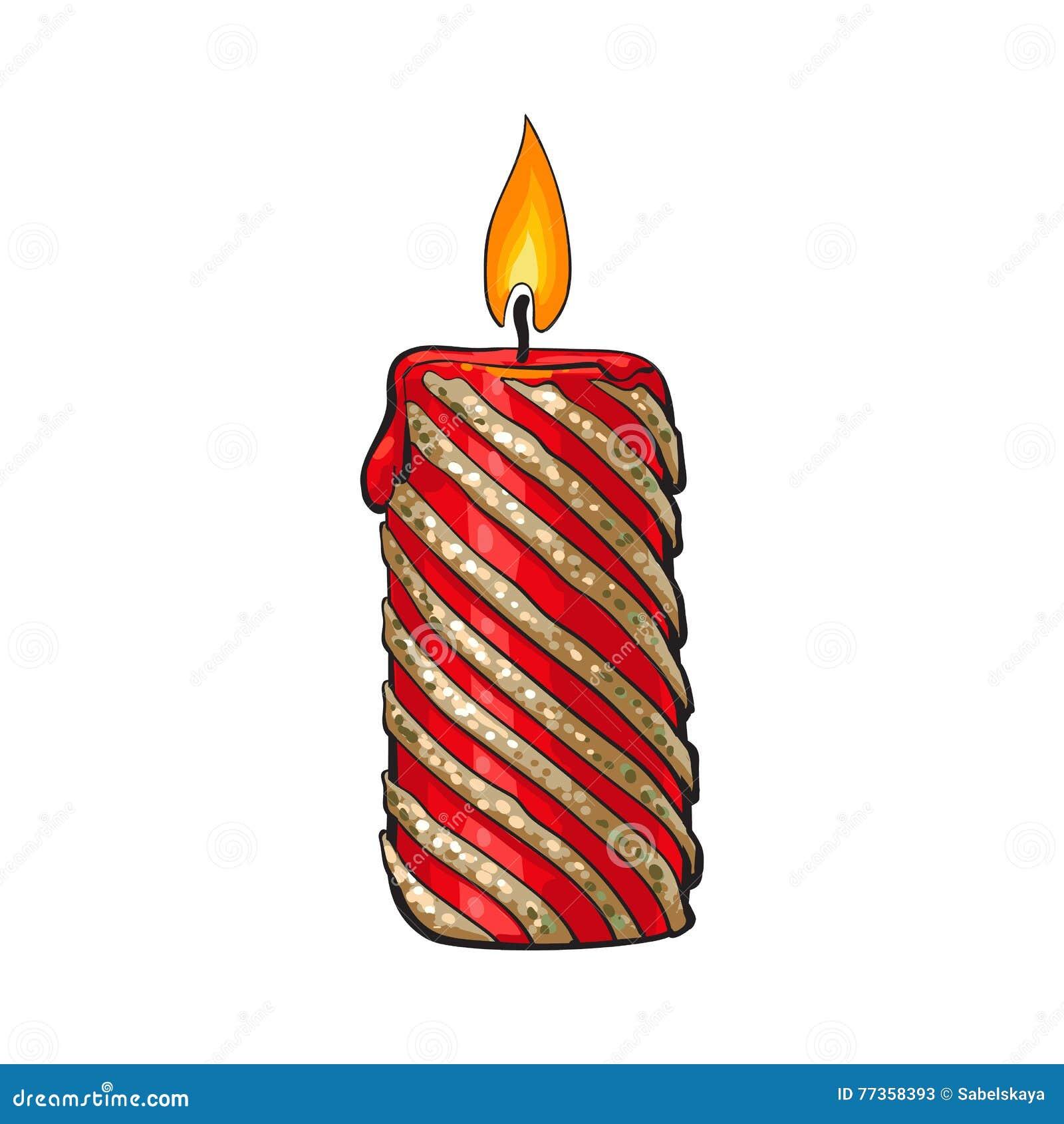 Rojo Ardiente Y Vela Coloreada Oro De La Navidad Ilustración del ...