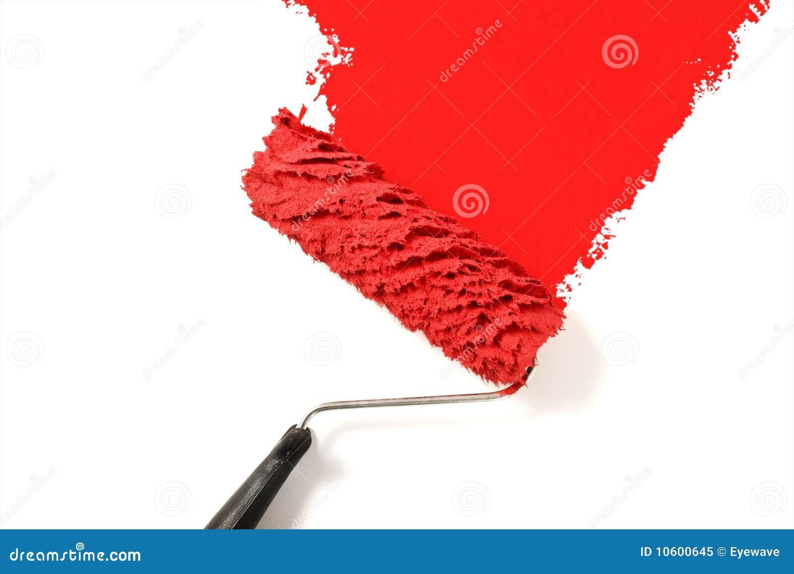 Rojo de la pintura del rodillo de pintura