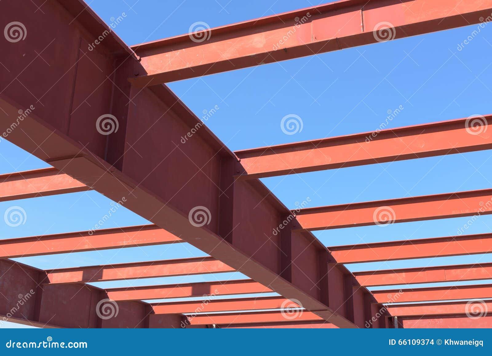 Rojo de la viga de acero foto de archivo. Imagen de marco - 66109374
