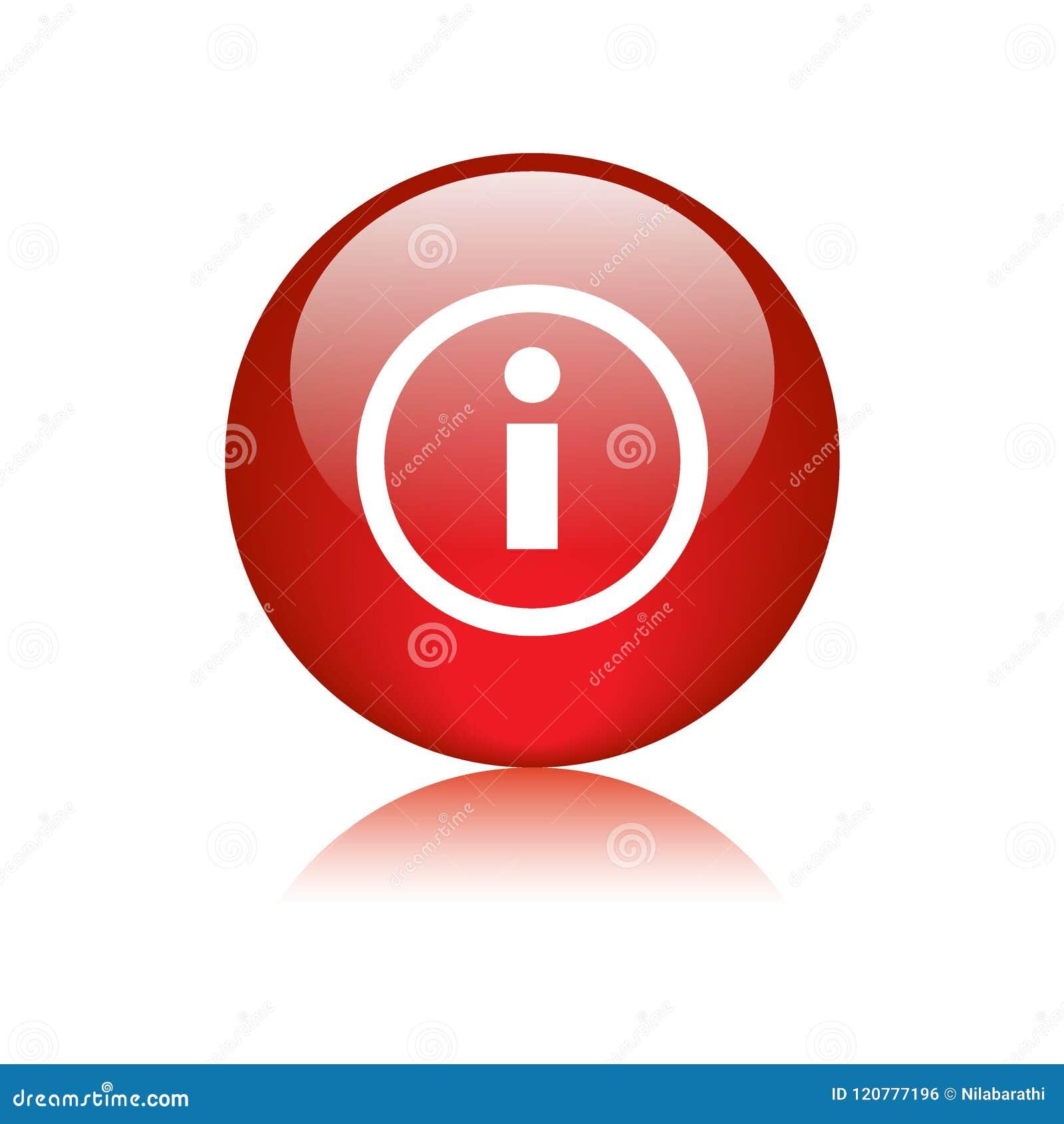 Rojo del botón del web del icono de la información