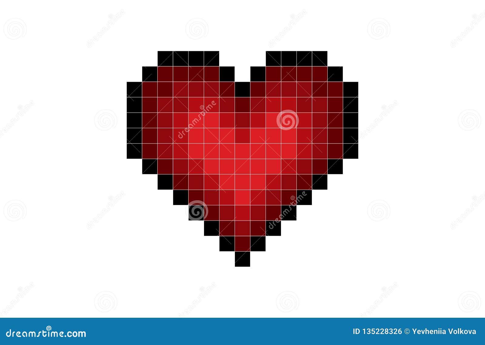 Rojo del corazón del pixel