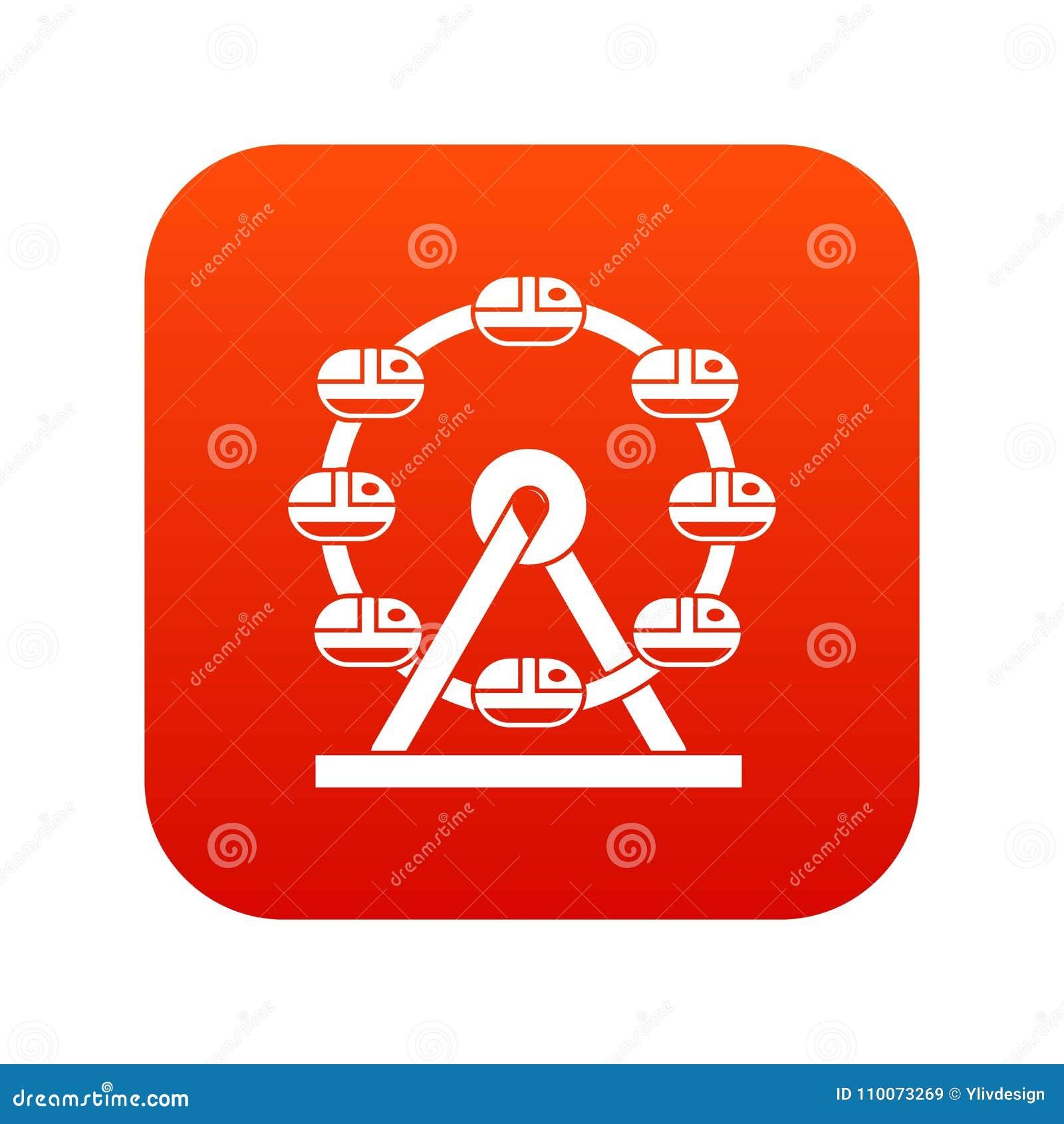 Rojo digital del icono gigante de la noria