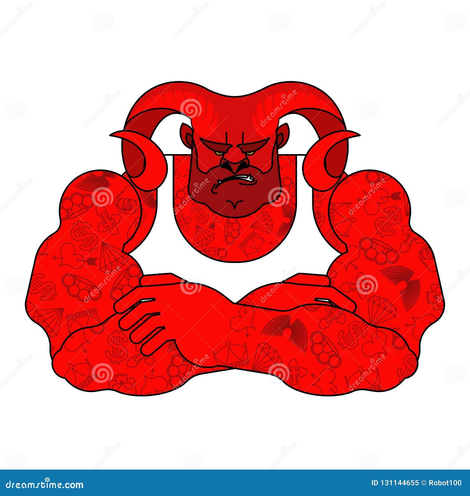 Rojo fuerte del demonio Diablo potente Satan grande Lucifer enojado