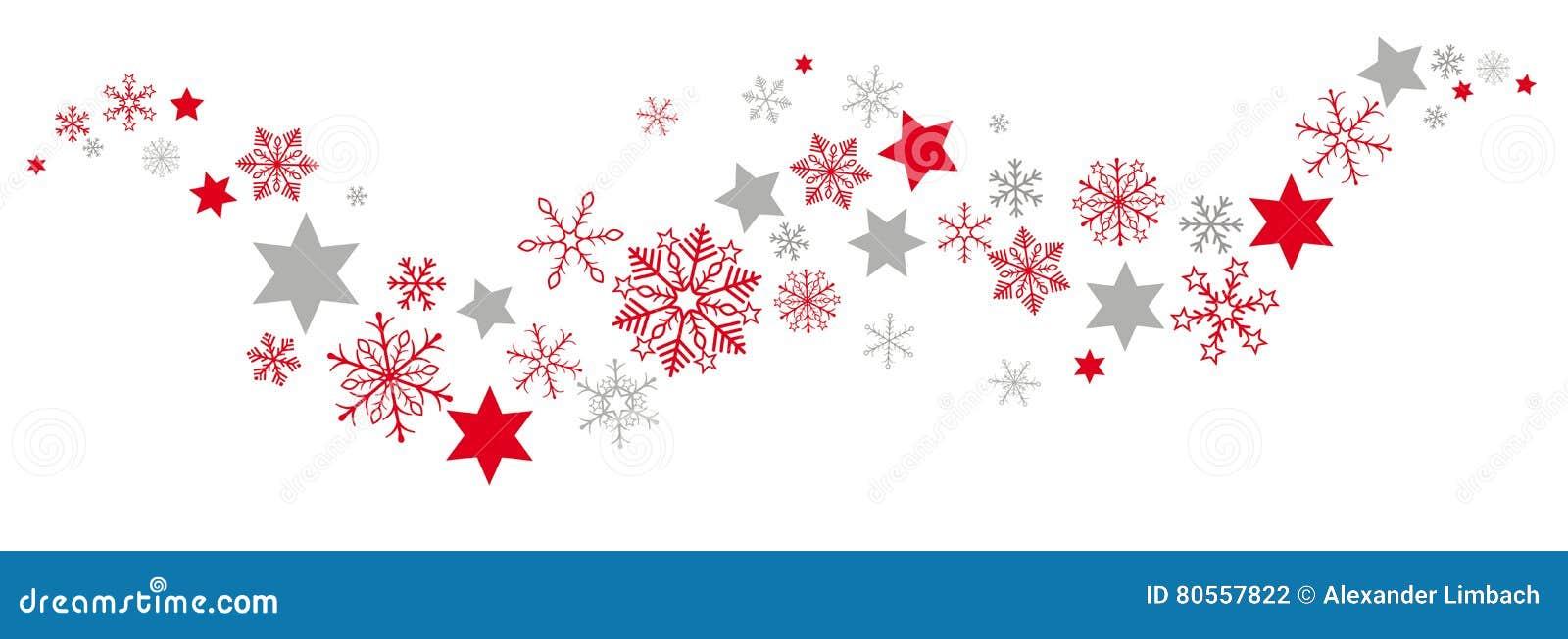 Rojo Gray Snowflakes Stars Flat Banner de la Navidad