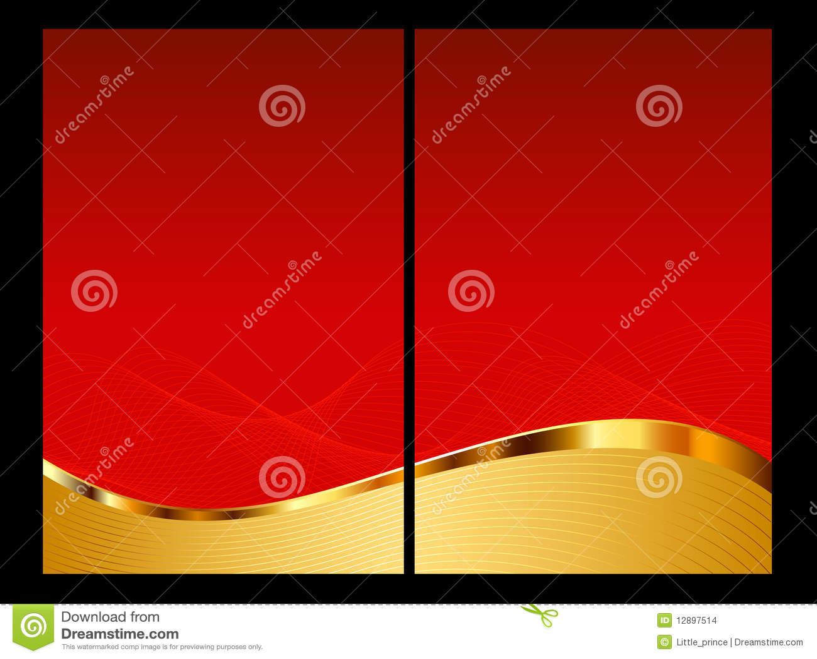 Rojo y fondo del oro, frente y parte posterior abstractos