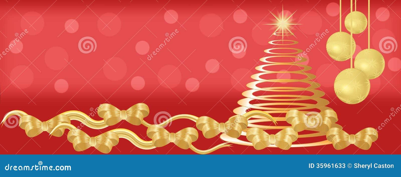 Rojo y fondo del panorama de la Navidad del oro