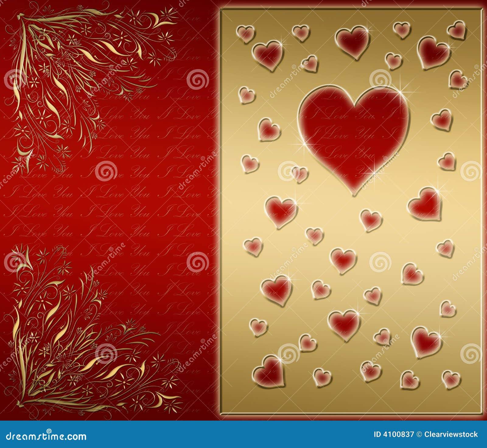 Rojo y tarjeta de las tarjetas del día de San Valentín del oro