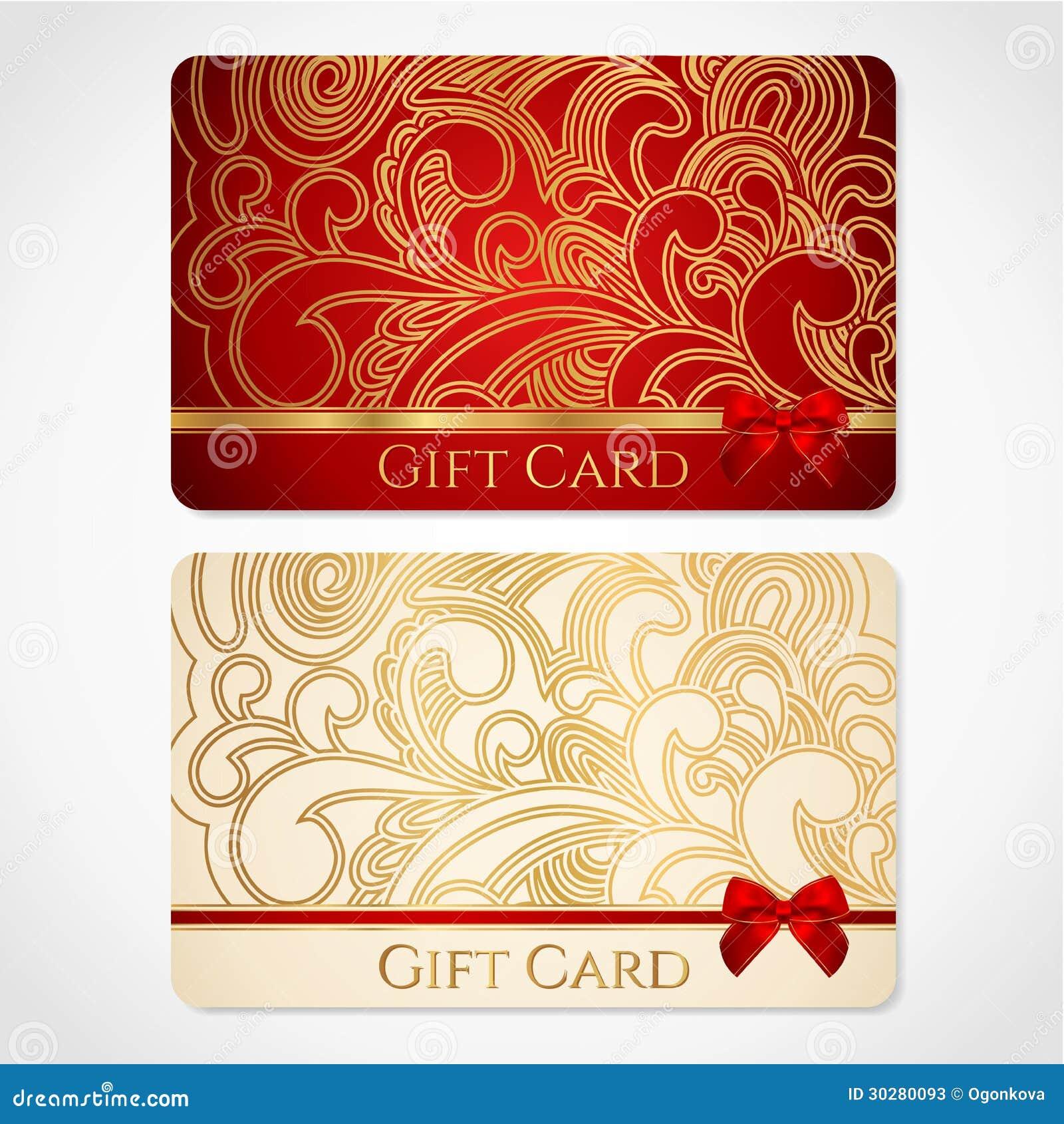 Rojo y tarjeta de regalo del oro con el estampado de flores