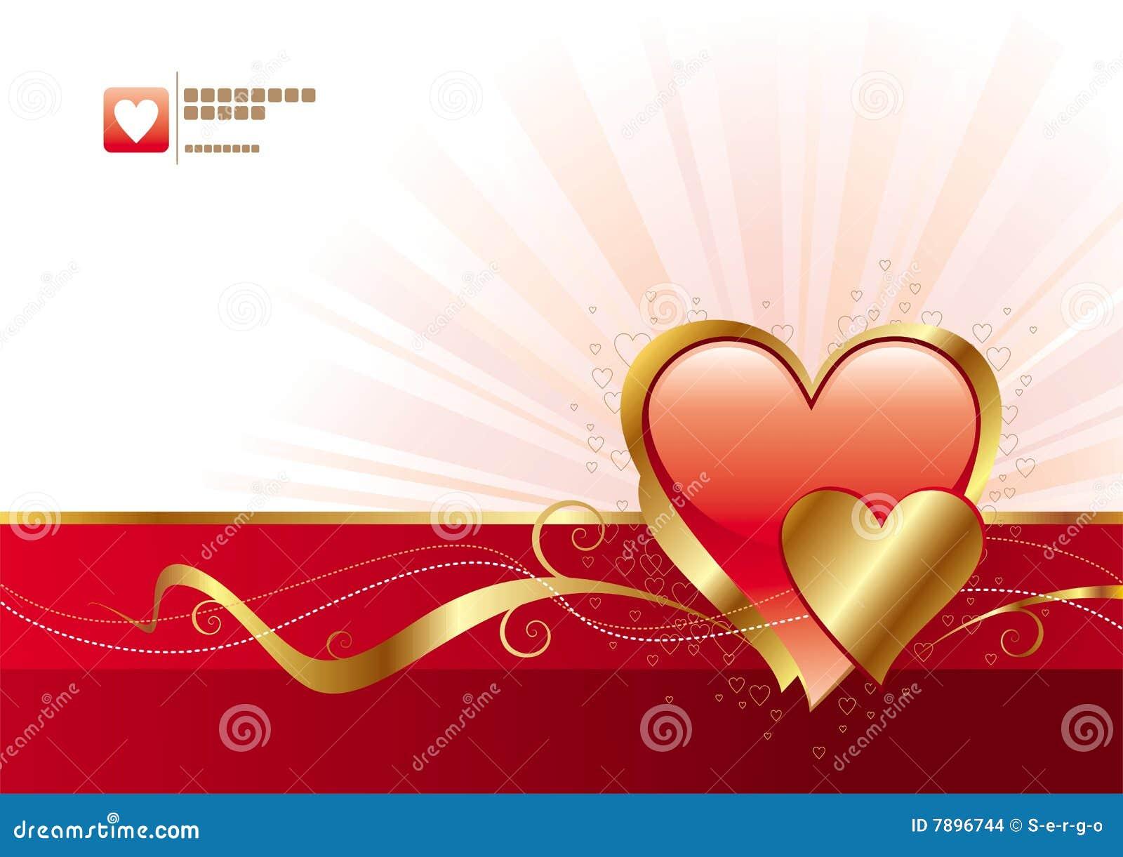 Rojo y tarjetas del d a de san valent n del oro - Postales dia de san valentin ...