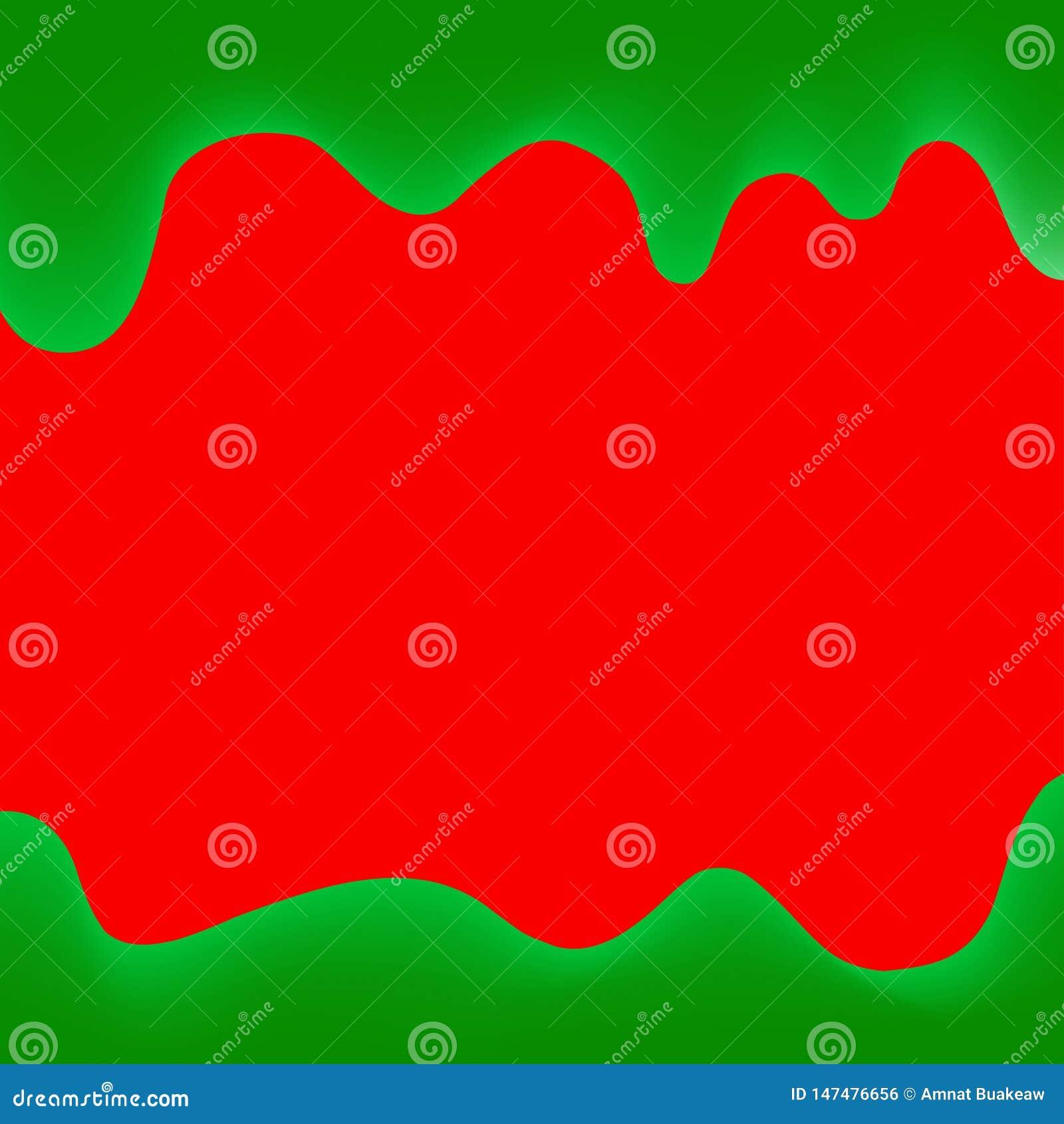 Rojo y verde de goteo de la pintura de la bandera para el fondo colorido, frontera de los goteos de la acuarela, marco verde de g