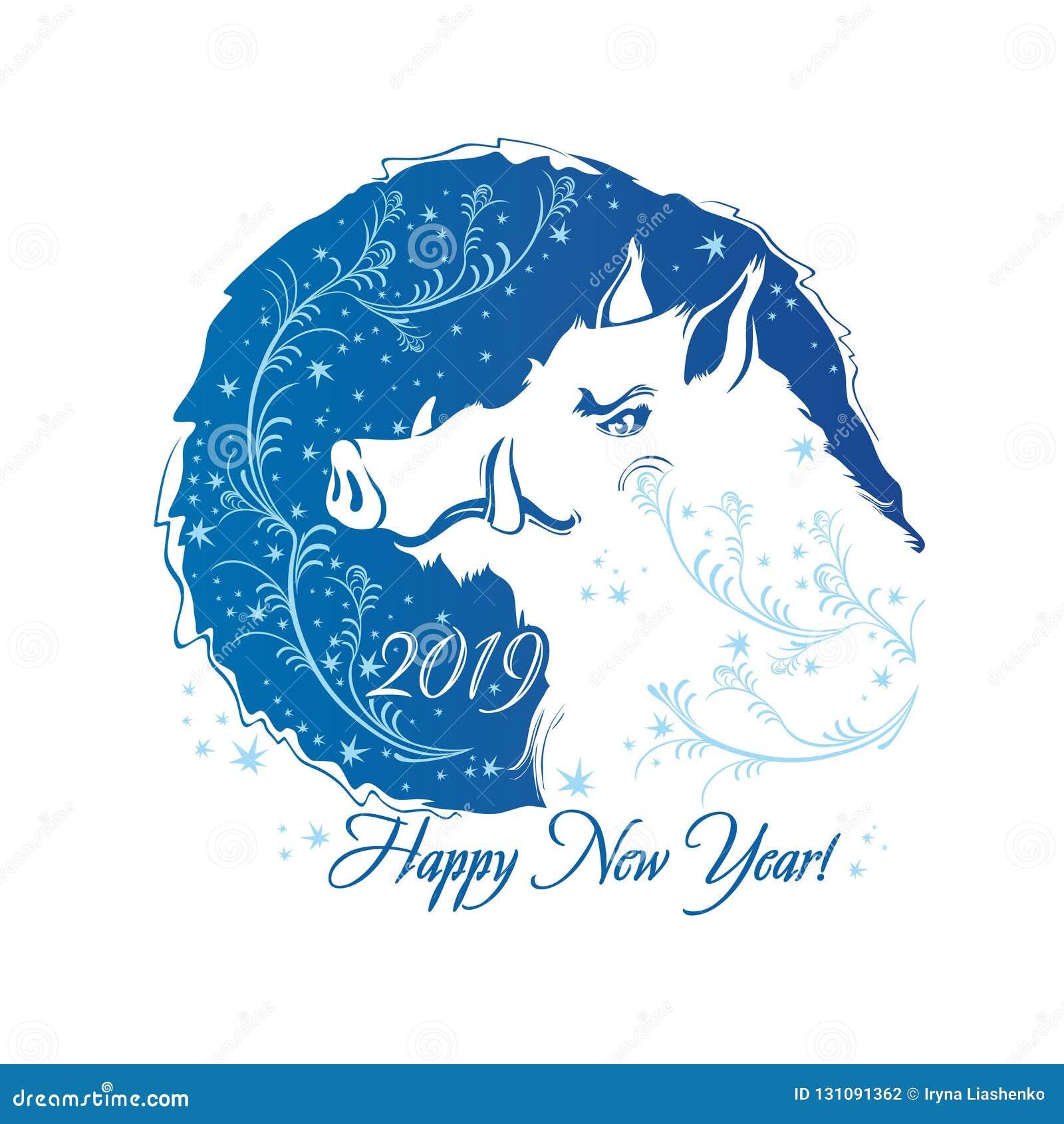 2019 rok świnia Rok knur Błękitnego round mroźny wzór