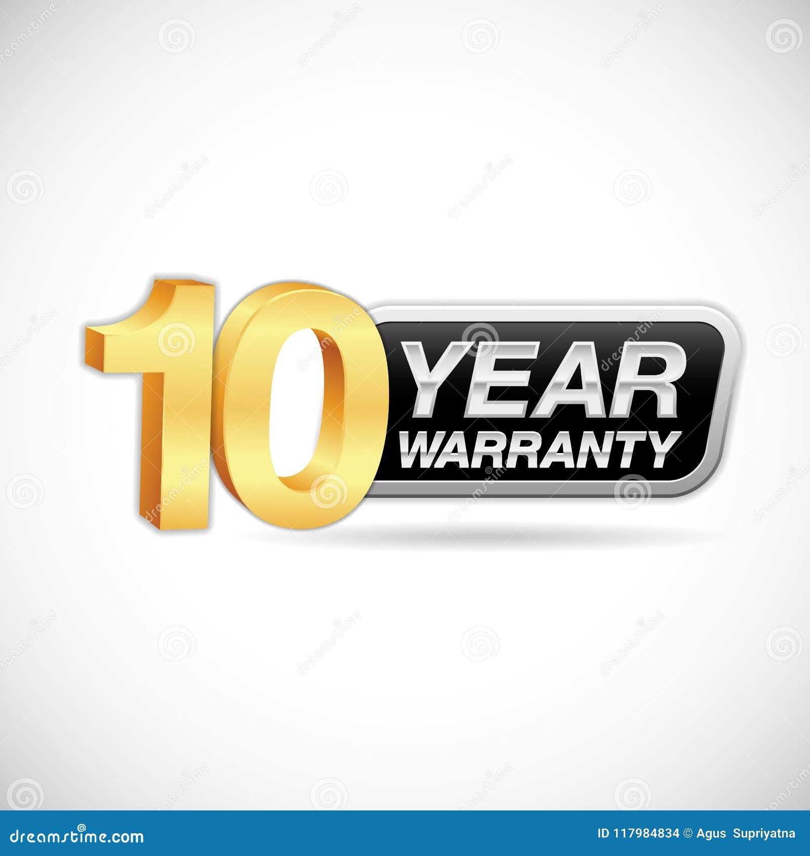 10 rok gwarancja złota i srebna odznaka odizolowywająca na białym tle