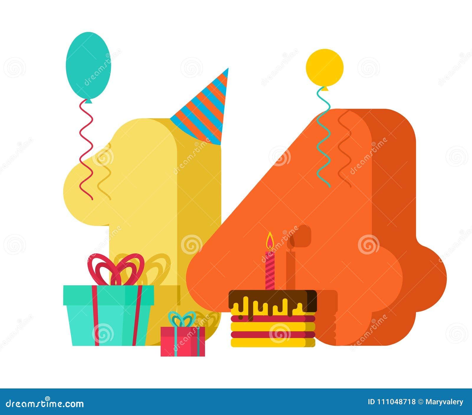 14 rok kartka z pozdrowieniami urodziny 14th rocznicowy świętowanie Tem