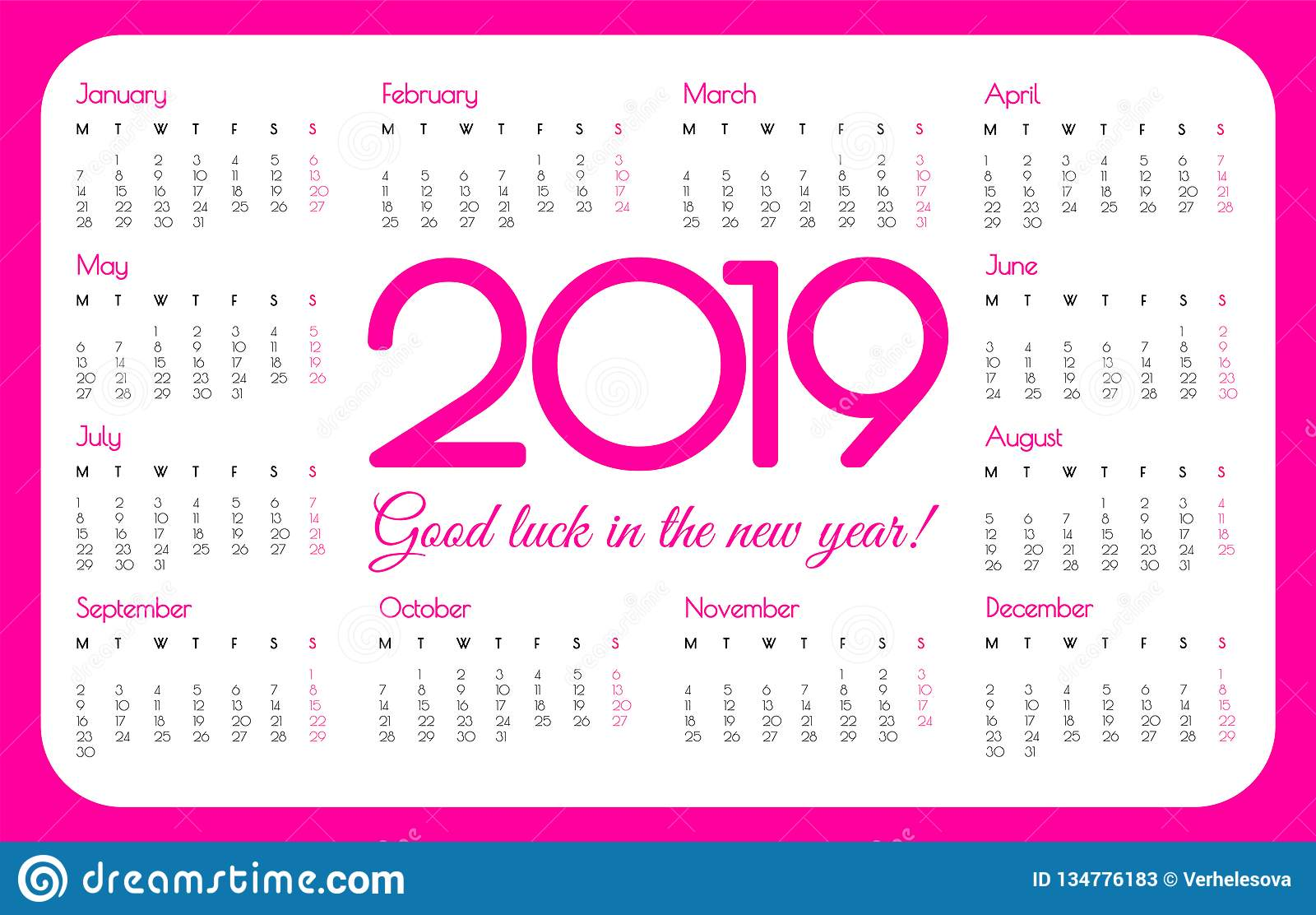 2019 rok kieszeni kalendarz Różowy kolor, prosty projekt Na Poniedziałek tydzień początek również zwrócić corel ilustracji wektor