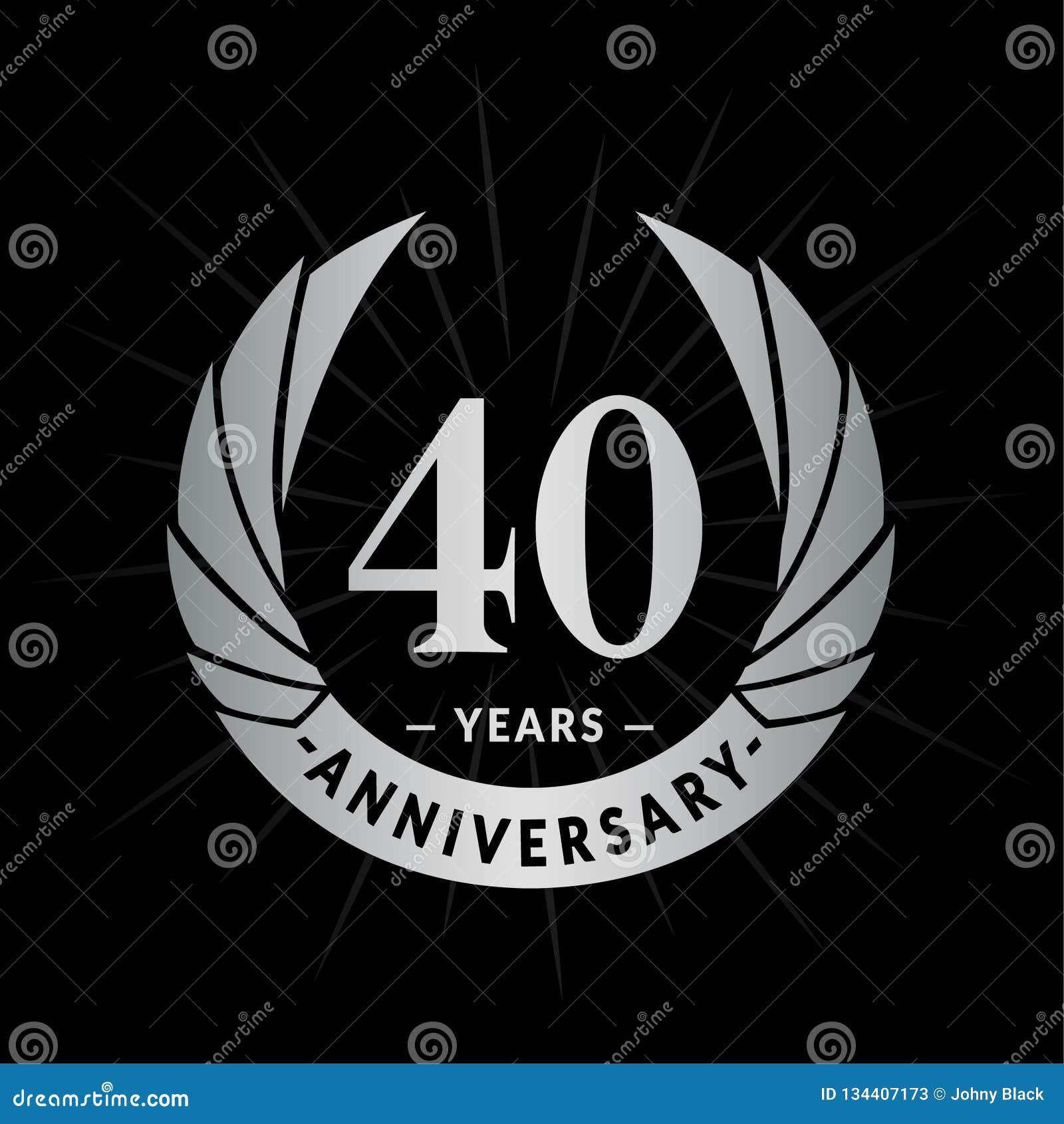 40 rok rocznicowego projekta szablonu Elegancki rocznicowy logo projekt Czterdzieści rok logo