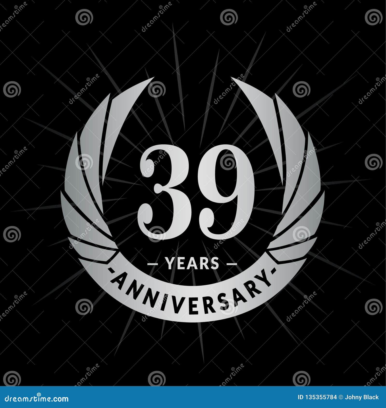 39 rok rocznicowego projekta szablonu Elegancki rocznicowy logo projekt Trzydzieści dziewięć rok logo