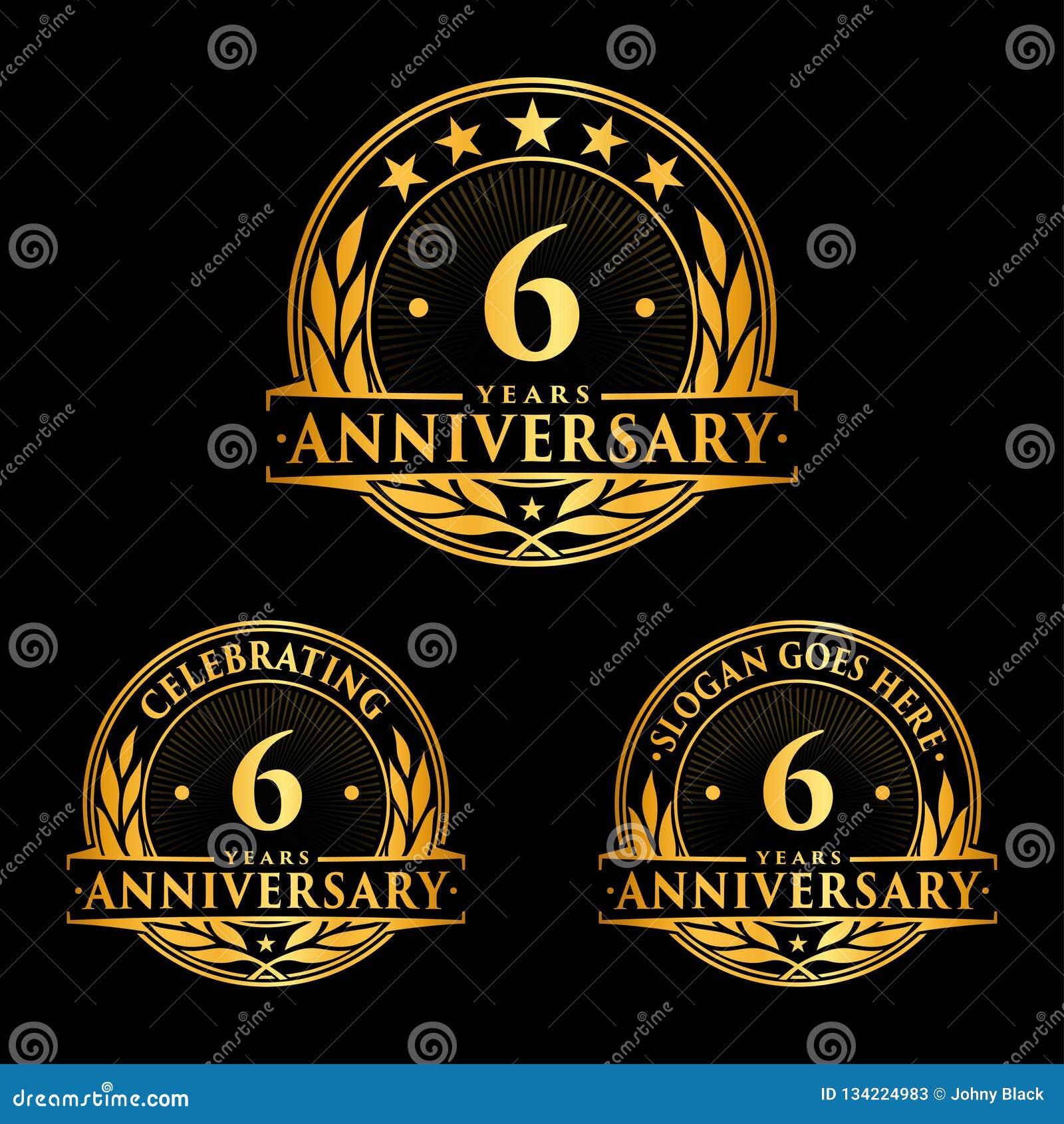 6 rok rocznicowego projekta szablonu Rocznicowy wektor i ilustracja 6th logo