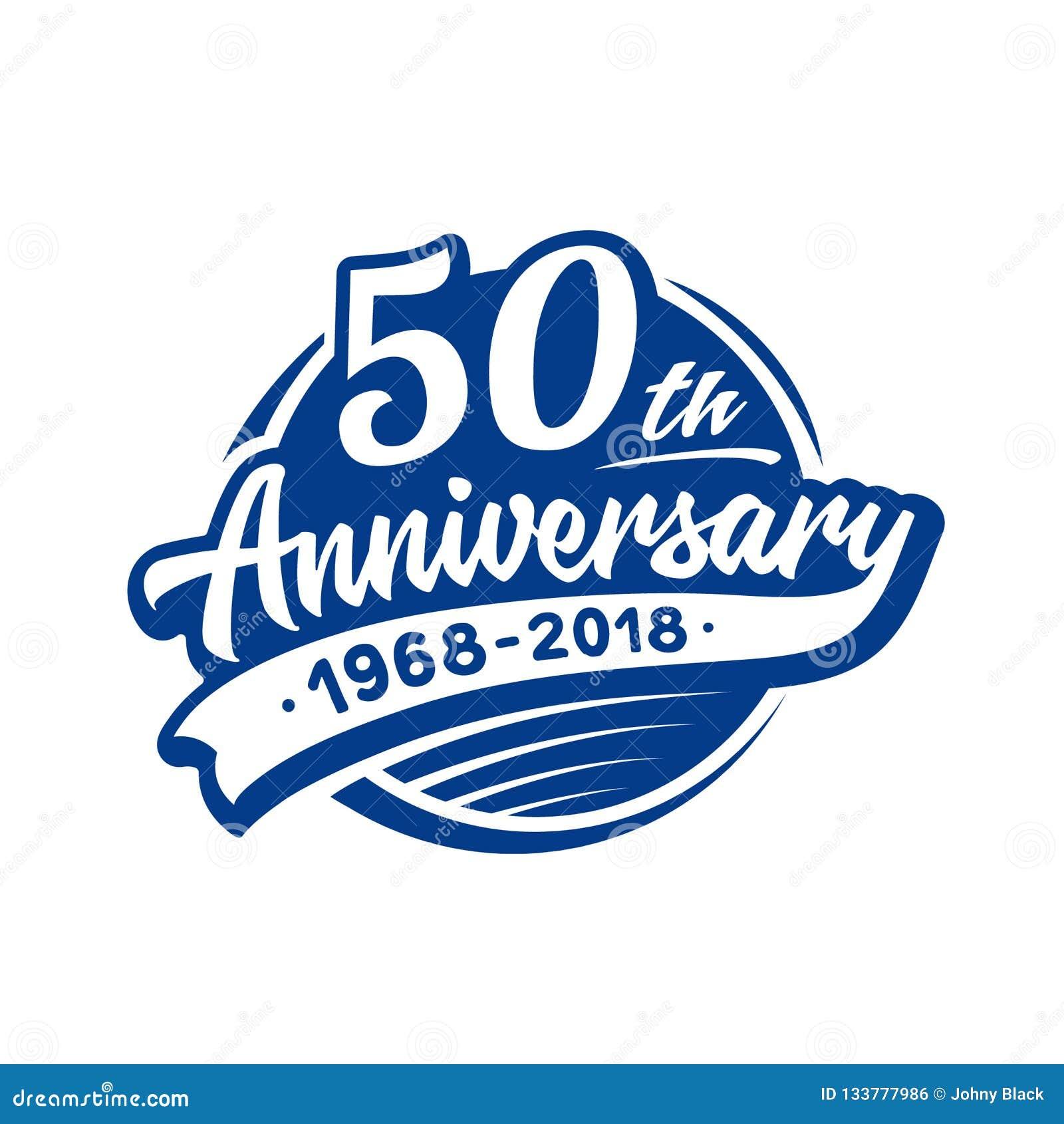 50 rok rocznicowego projekta szablonu Wektor i ilustracja 50th logo