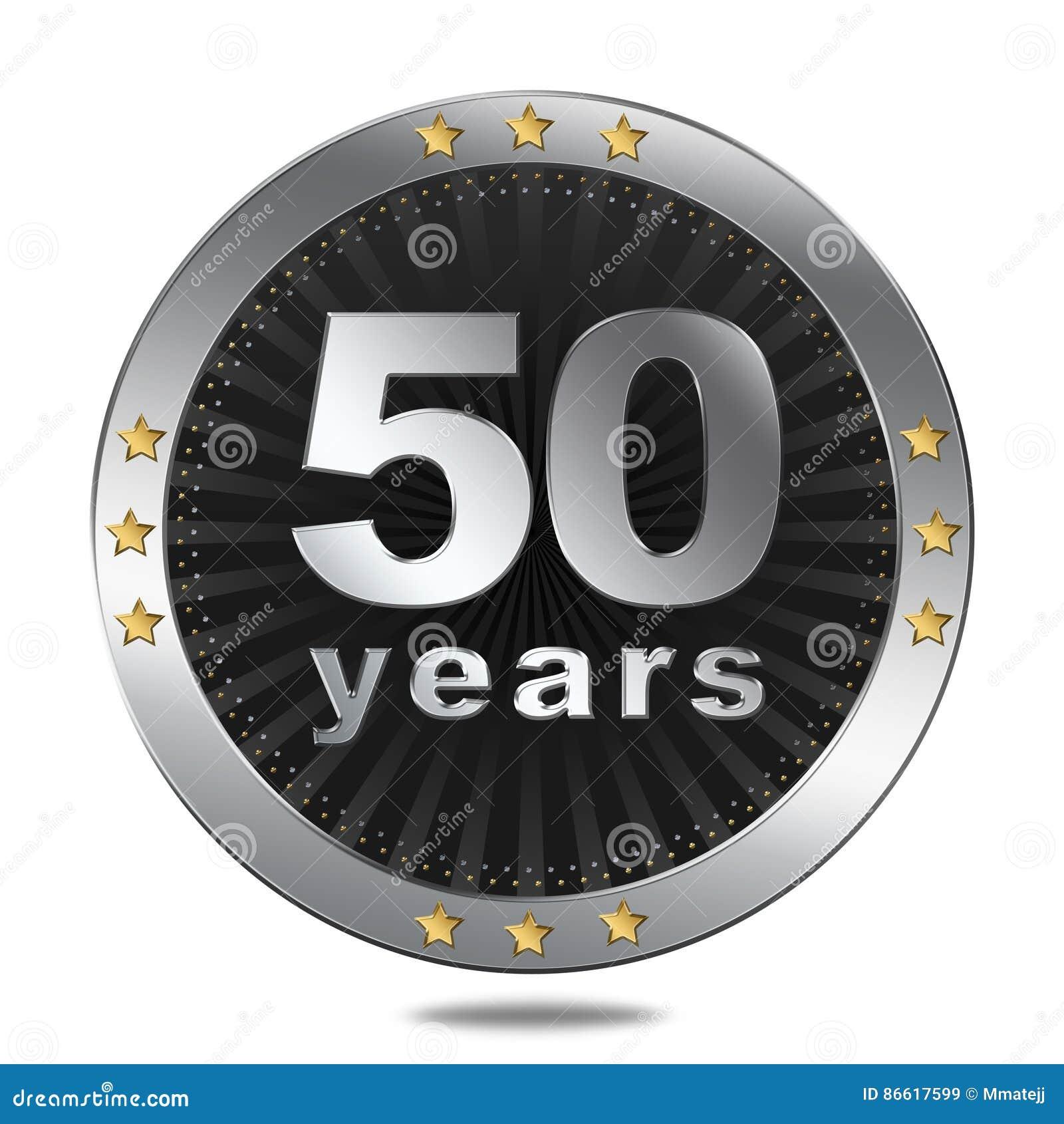 50 rok rocznicowej odznaki - srebny colour
