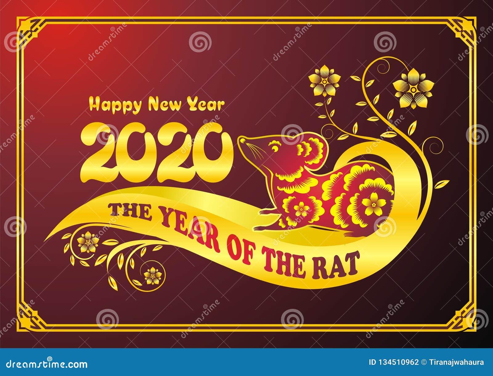 Rok szczur, chińskiego nowego roku wektorowy projekt