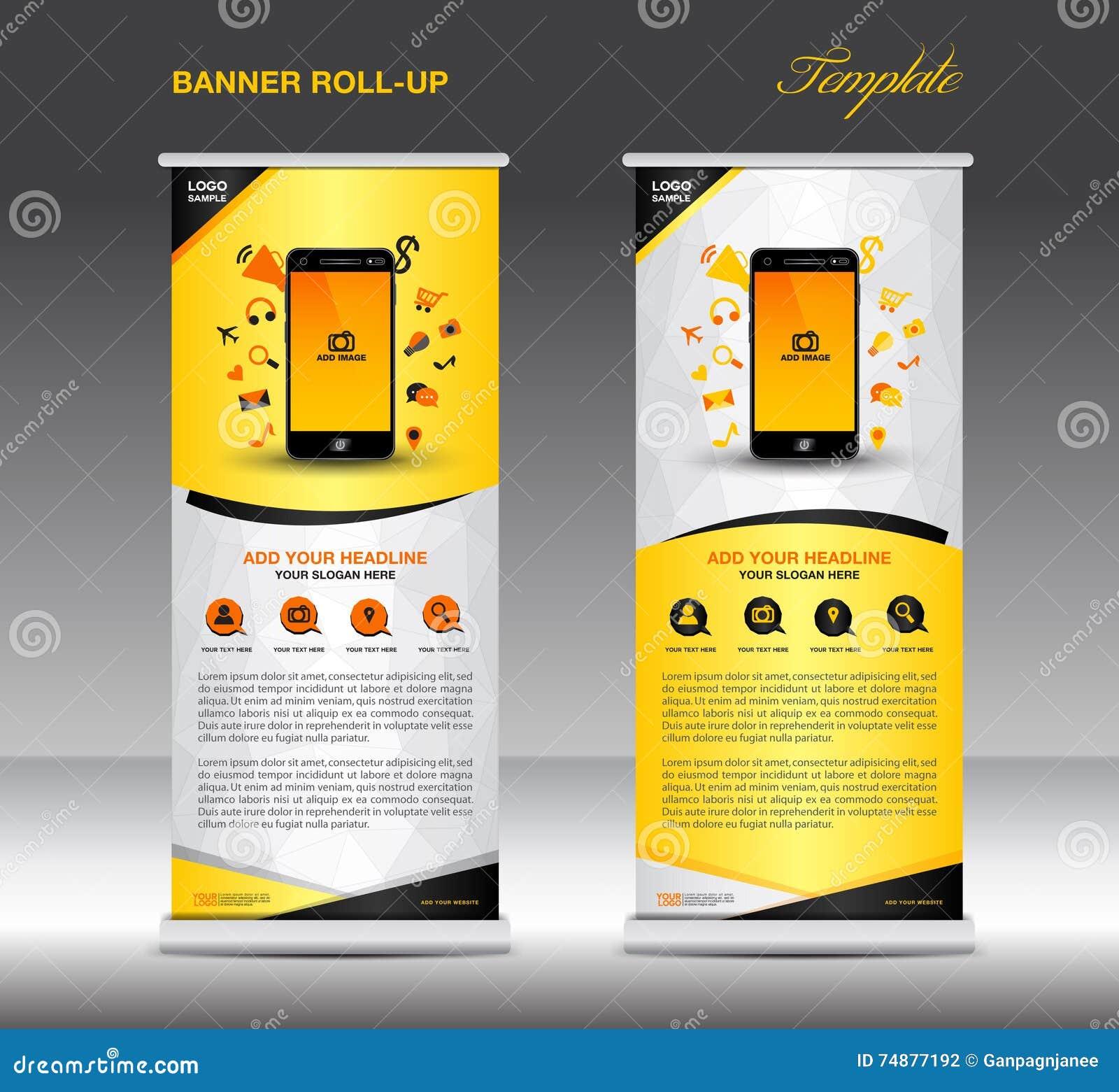 Role acima o molde da bandeira e o infographics móvel, exposição do suporte