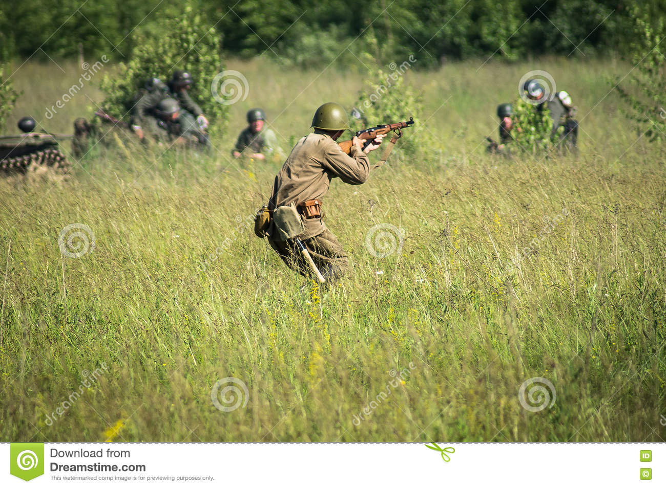 A role - play reconstruction of one of the battles of World war 2 on the outskirts of Moscow in the Kaluga region in Russia.