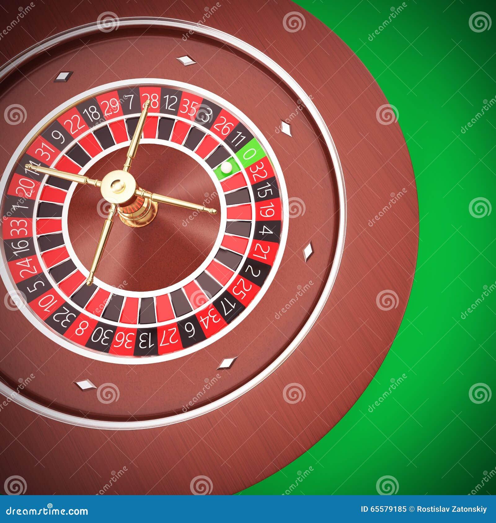 Roleta do casino com um fundo verde