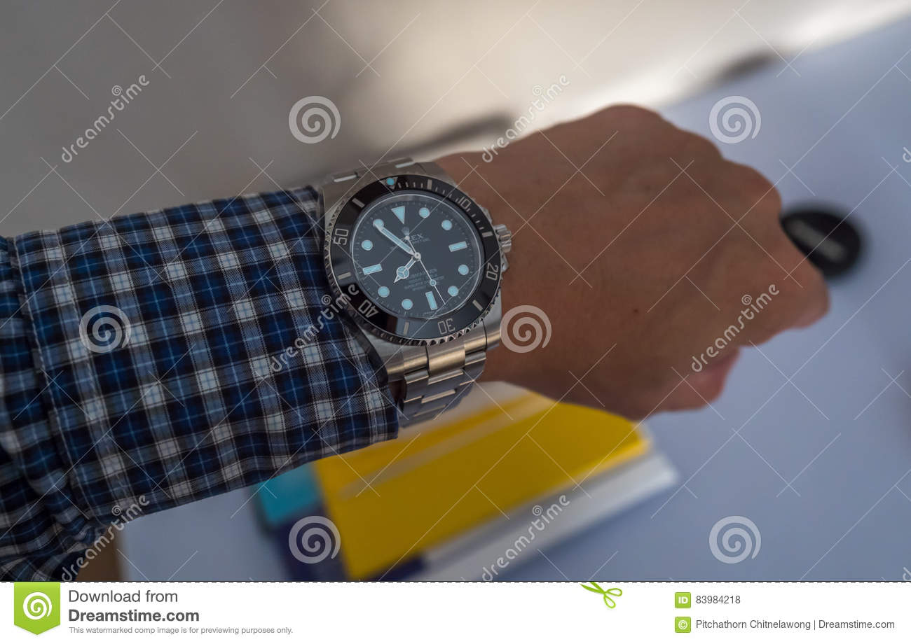 Rolex Submariner On Left Wrist Editorial Stock Photo , Image